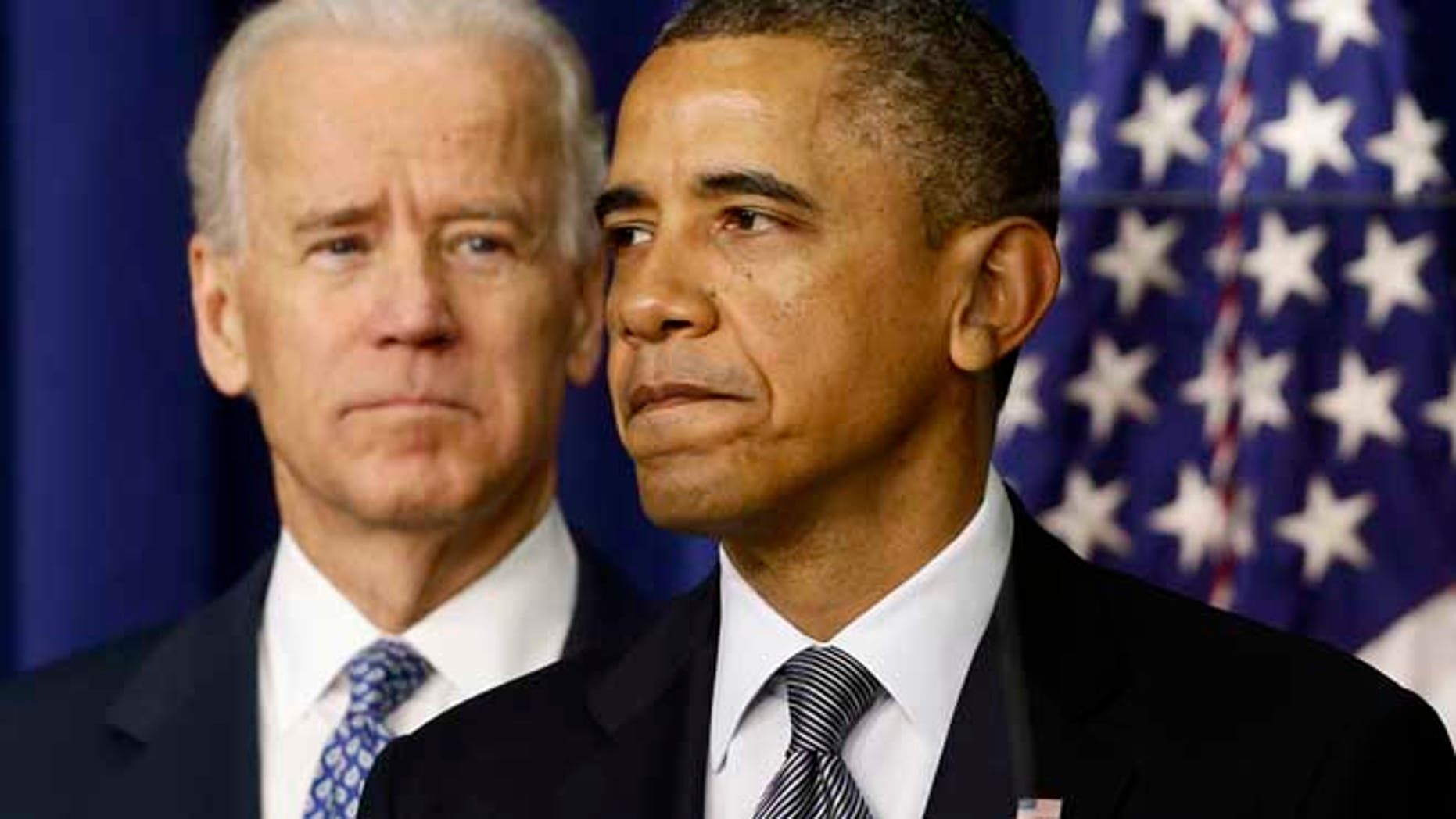 President Barack Obama, accompanied by Vice President  Joe Biden, talks about proposals to reduce gun violence, Wednesday, Jan. 16, 2013, in the South Court Auditorium at the White House in Washington. (AP Photo/Charles Dharapak)