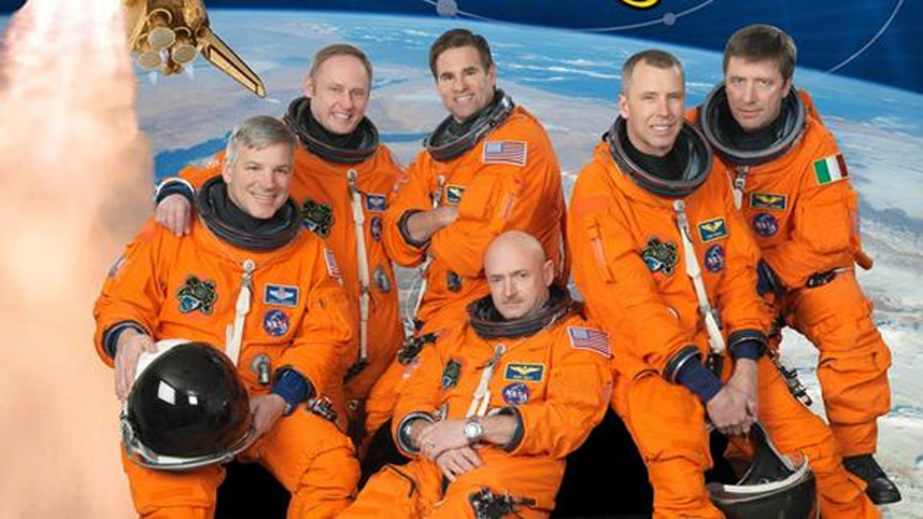 Pictured clockwise in the STS-134 crew portrait are NASA astronauts Mark Kelly (bottom center), commander; Gregory H. Johnson, pilot; Michael Fincke, Greg Chamitoff, Andrew Feustel and European Space Agency's Roberto Vittori, all mission specialists.
