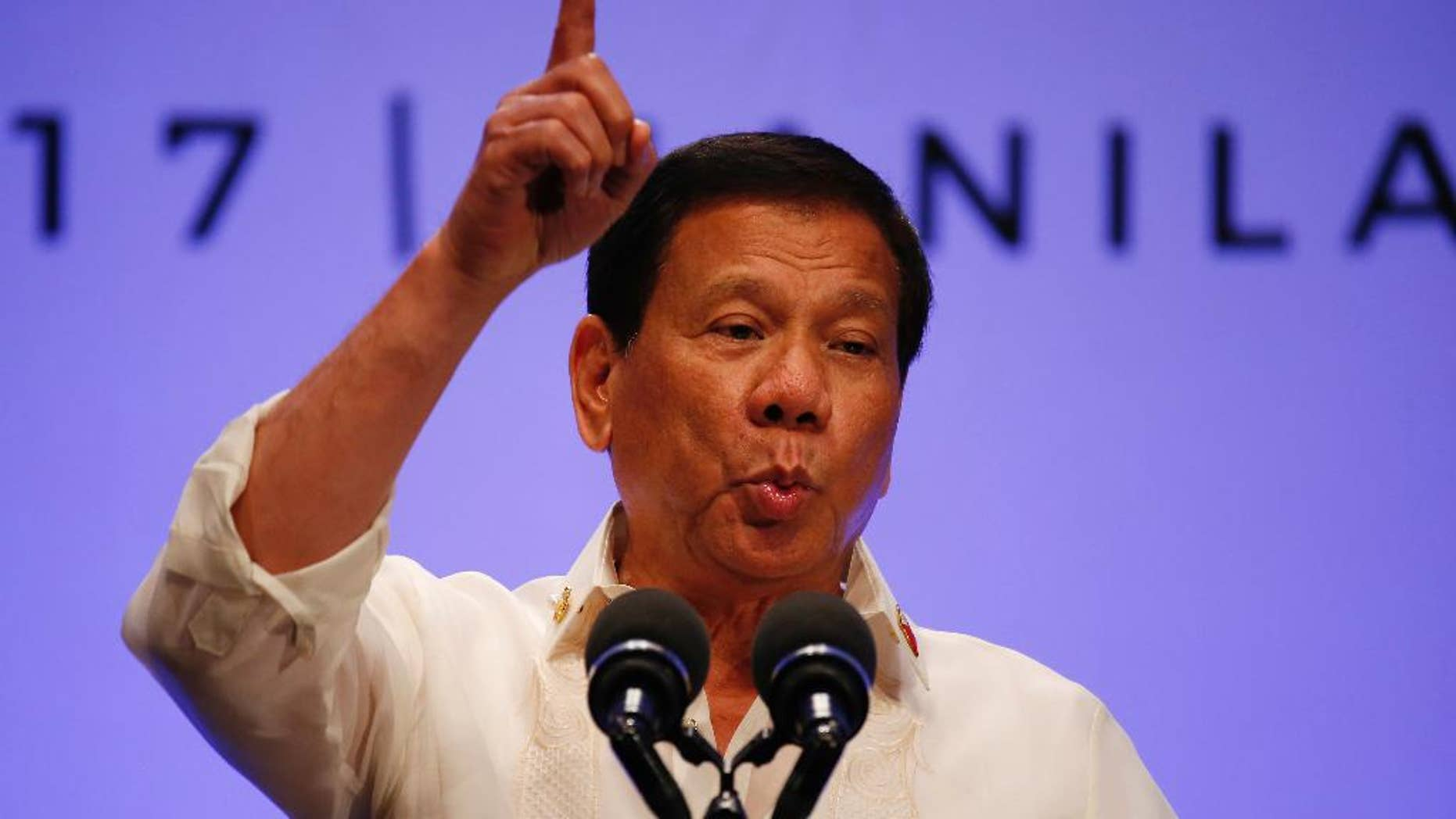 """Philippines President Rodrigo Duterte gestures while addressing the media following the conclusion of the 30th ASEAN Leaders' Summit in Manila, Philippines, Saturday, April 29, 2017. Duterte suggested Saturday to his American counterpart to back out from an intensifying standoff with North Korea not in surrender but to avoid risking a nuclear """"holocaust"""" that could affect Asia immensely. (AP Photo/Bullit Marquez)"""