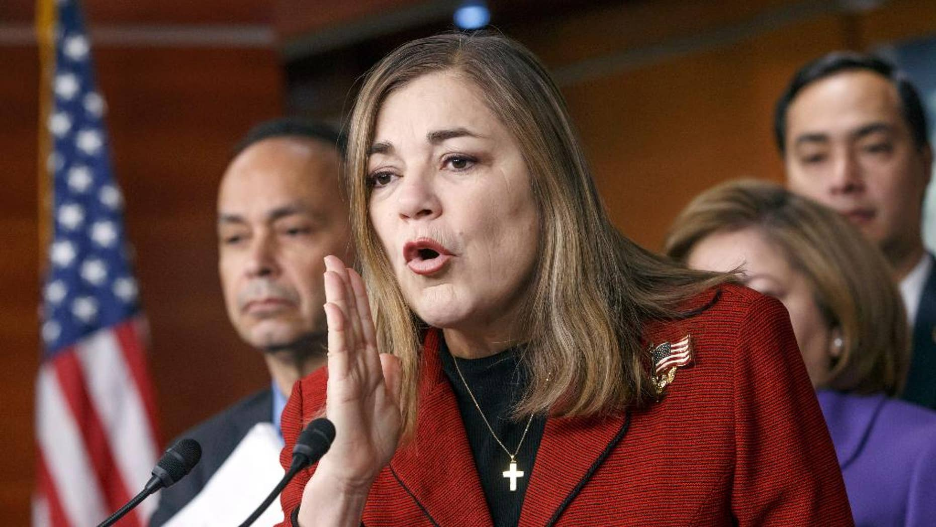 FILE - In this Feb. 13, 2015, file photo, Rep. Loretta Sanchez, D-Calif., speaks during a Congressional Hispanic Caucus news conference on Capitol Hill in Washington. Sanchez, now also a US. Senate candidate, is being criticized after suggesting that as many as two of 10 Muslims would engage in terrorism to establish a strict Islamic state. Sanchez said in a statement Friday, Dec. 11, 2015 that the figure does not reflect her views on the Muslim community in America, and most Muslims around the world are committed to peace.(AP Photo/J. Scott Applewhite, File)