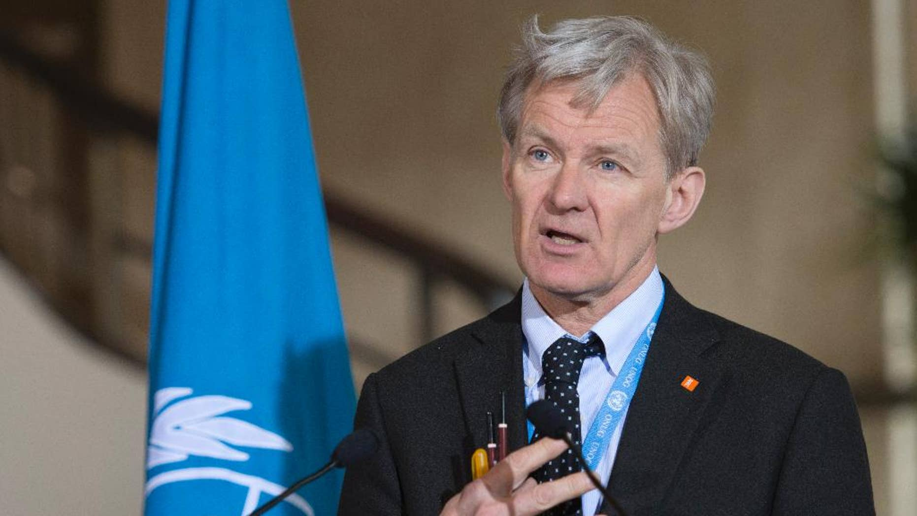 Jan Egeland, Senior Advisor to the United Nations Special Envoy for Syria, speaks about the International Syria Support Group's Humanitarian Access Task Force update at the European headquarters of the United Nations in Geneva, Switzerland, Thursday, April 7, 2016. (Martial Trezzini/Keystone via AP)