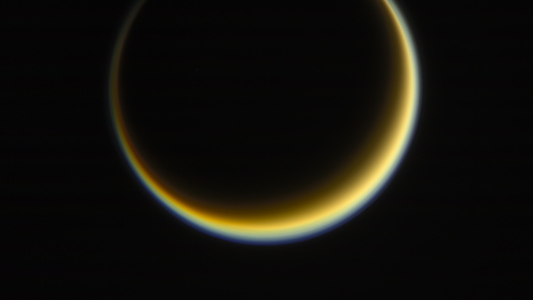 When Titan comes directly between a star (the sun) and an observer (the Cassini spacecraft in 2017), its hazy atmosphere becomes easier to study.