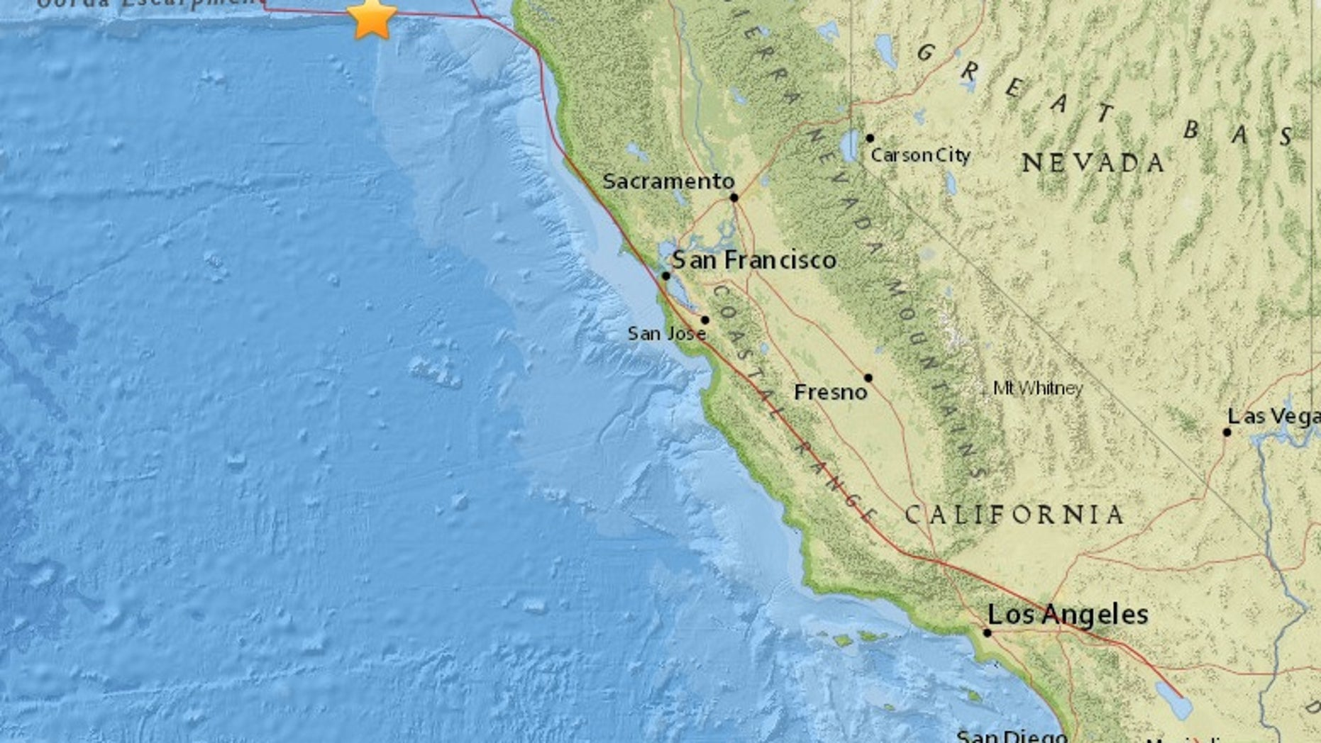 USGS map of the earthquake's epicenter.