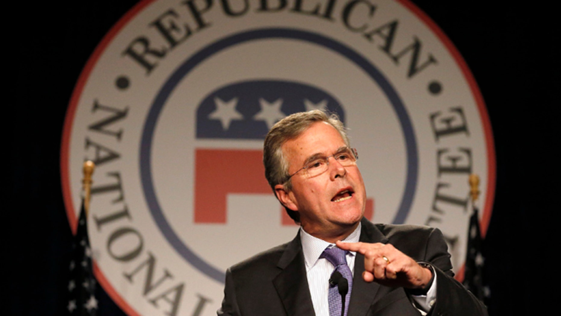 Former Florida Gov. Jeb Bush delivers the keynote address at the Republican National Committee spring meeting Thursday, May 14, 2015, in Scottsdale, Ariz.  Bush has yet to officially declare his intentions on whether he will join the growing number of Republican candidates for the presidential election of 2016. (AP Photo/Ross D. Franklin)