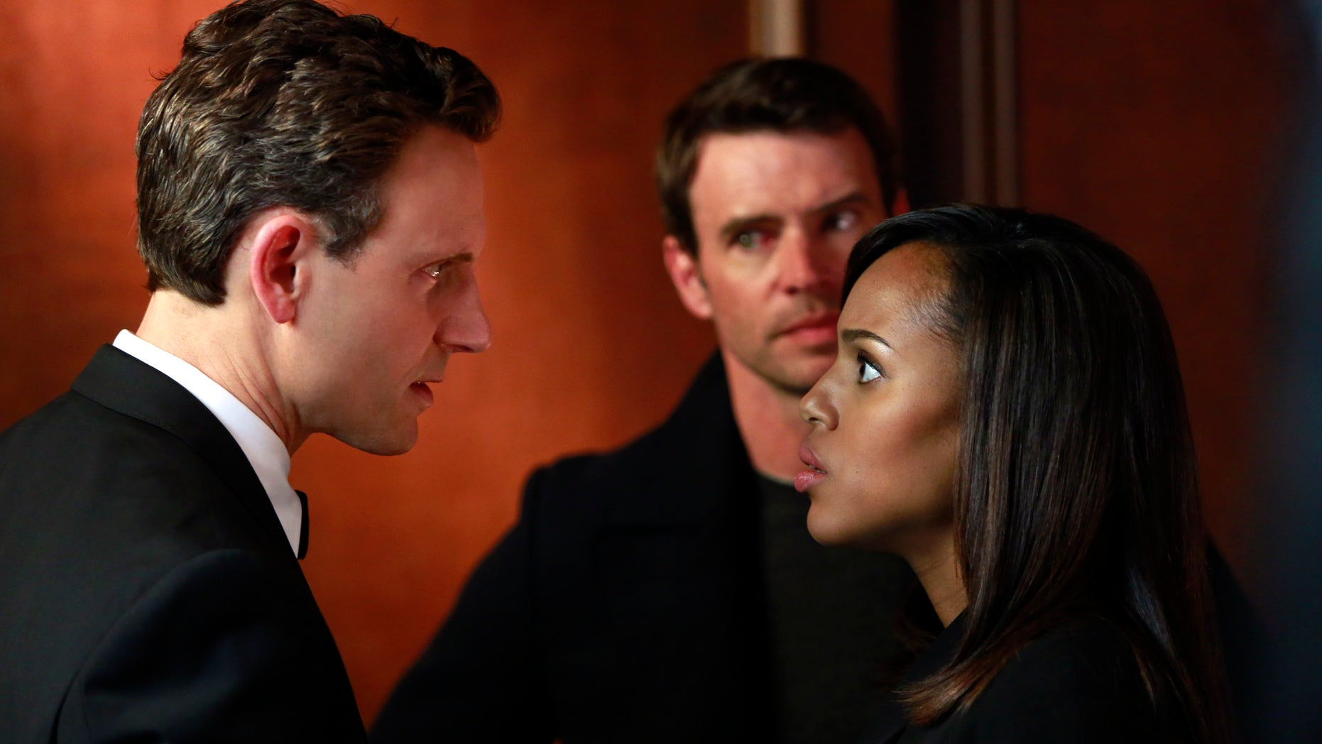 """This image released by ABC shows Tony Goldwyn, from left, Scott Foley and Kerry Washington in a scene from """"Scandal.""""  The popular series ended its third season Thursday, April 18, 2014."""