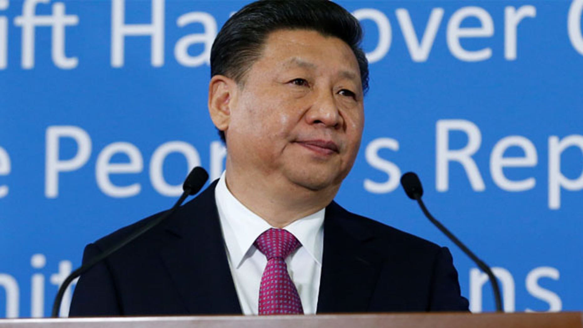 FILE 2017: Chinese President Xi Jinping addresses the guests at the U.N. European headquarters in Geneva.