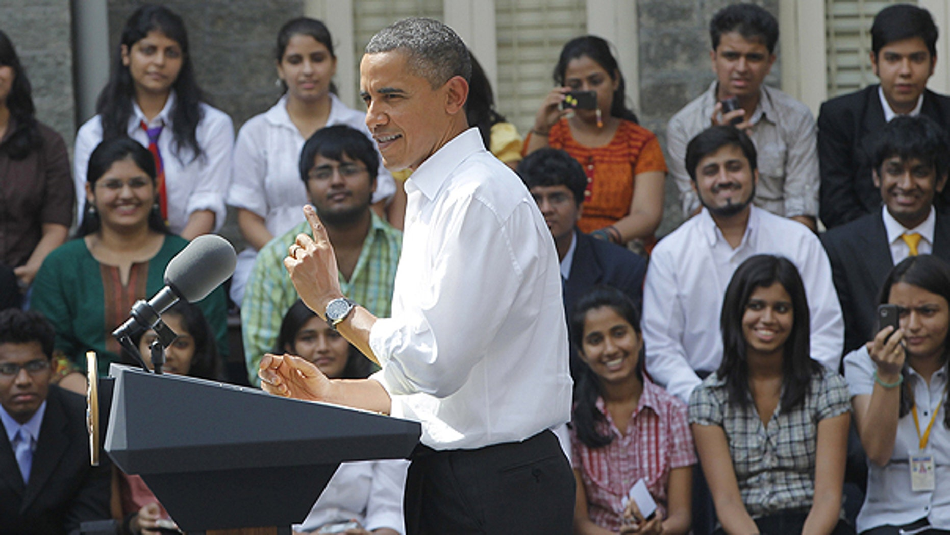 Nov. 7: President Obama speaks at a town-hall style event with students at St. Xavier's College in Mumbai, India.