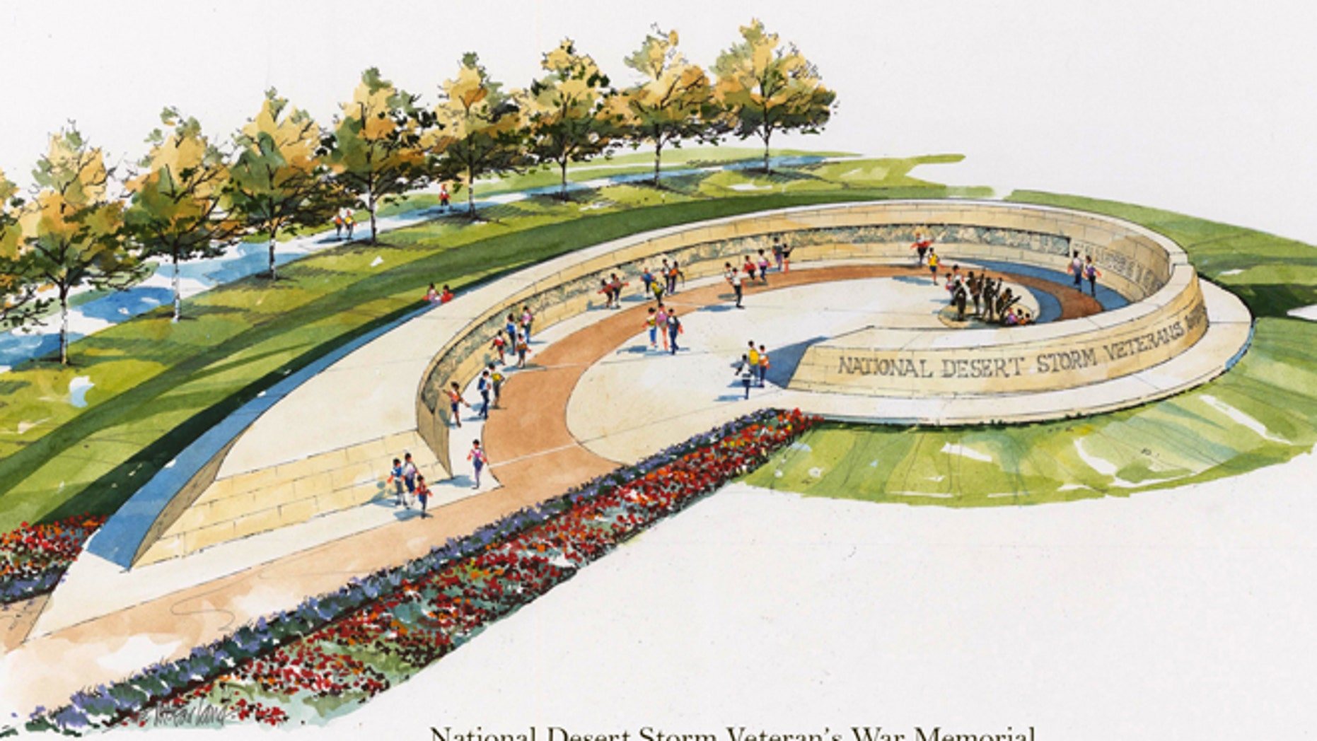 Shown here is a rendering of the proposed National Desert Storm Veteran's War Memorial.