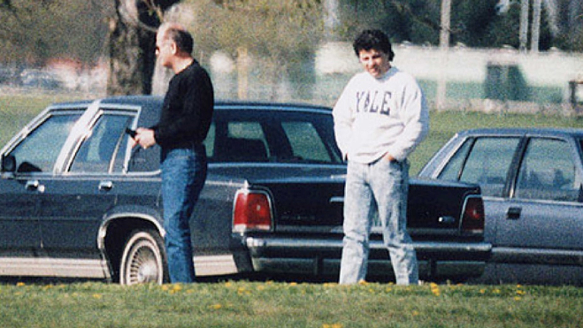 """This undated surveillance photo shows James """"Whitey"""" Bulger, left, with his former right hand man, Kevin Weeks. (AP/U.S. Attorney's Office)"""