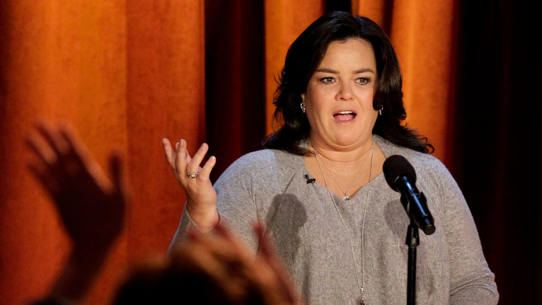 "FILE - In this Thursday, Oct. 6, 2011, file photo, Rosie O'Donnell talks to the audience during a taping of her show in Chicago. ""The View"" announced Monday, Jan. 27, 2014, that O'Donnell will be a guest on the daytime gabfest on Feb. 7. (AP Photo/Nam Y. Huh, File)"