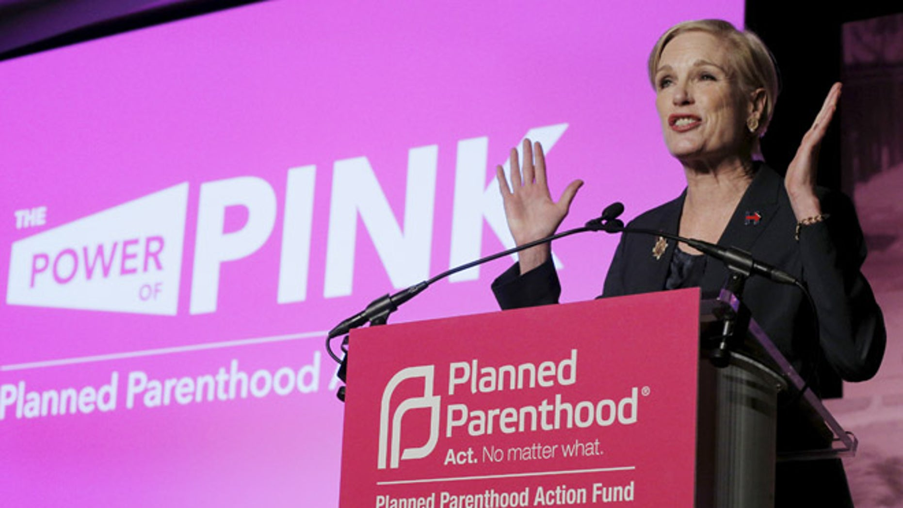 In this Jan. 10, 2016 file photo, Planned Parenthood Action Fund President Cecile Richards speaks at an event to publicly endorse Hillary Clinton in Hooksett, New Hampshire.