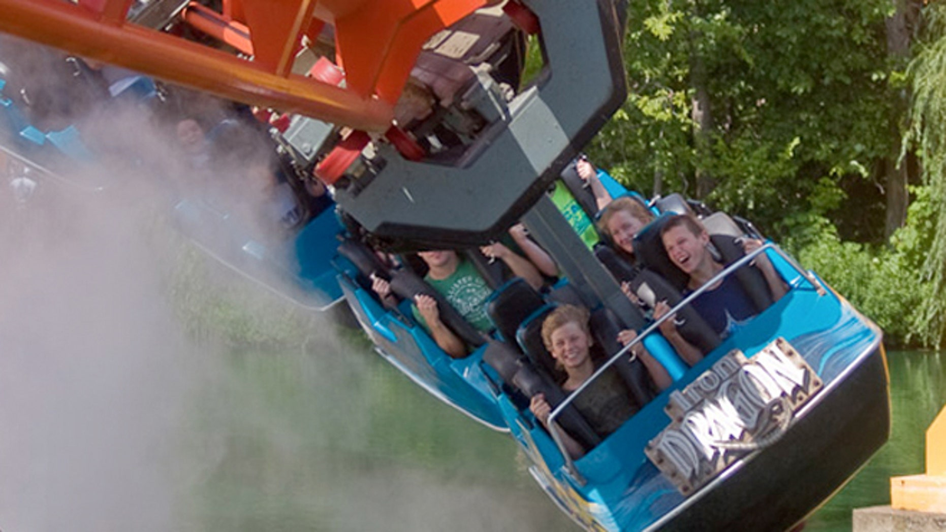 The Iron Dragon at Cedar Grive is a suspended coaster that swoops around a track that takes you around the woods and over a lagoon.