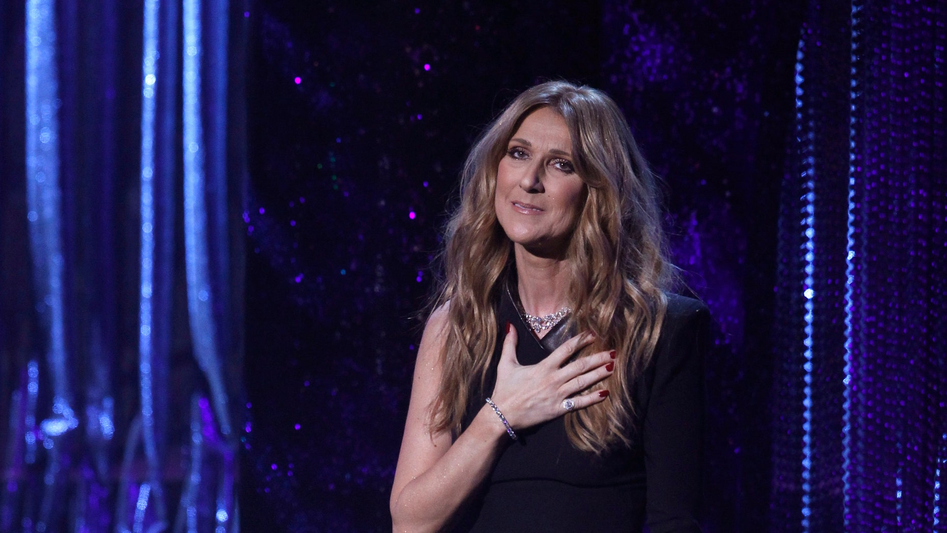 December 2, 2015. Singer Céline Dion performs during Sinatra 100 - An All-Star Grammy Concert in Las Vegas, Nevada.