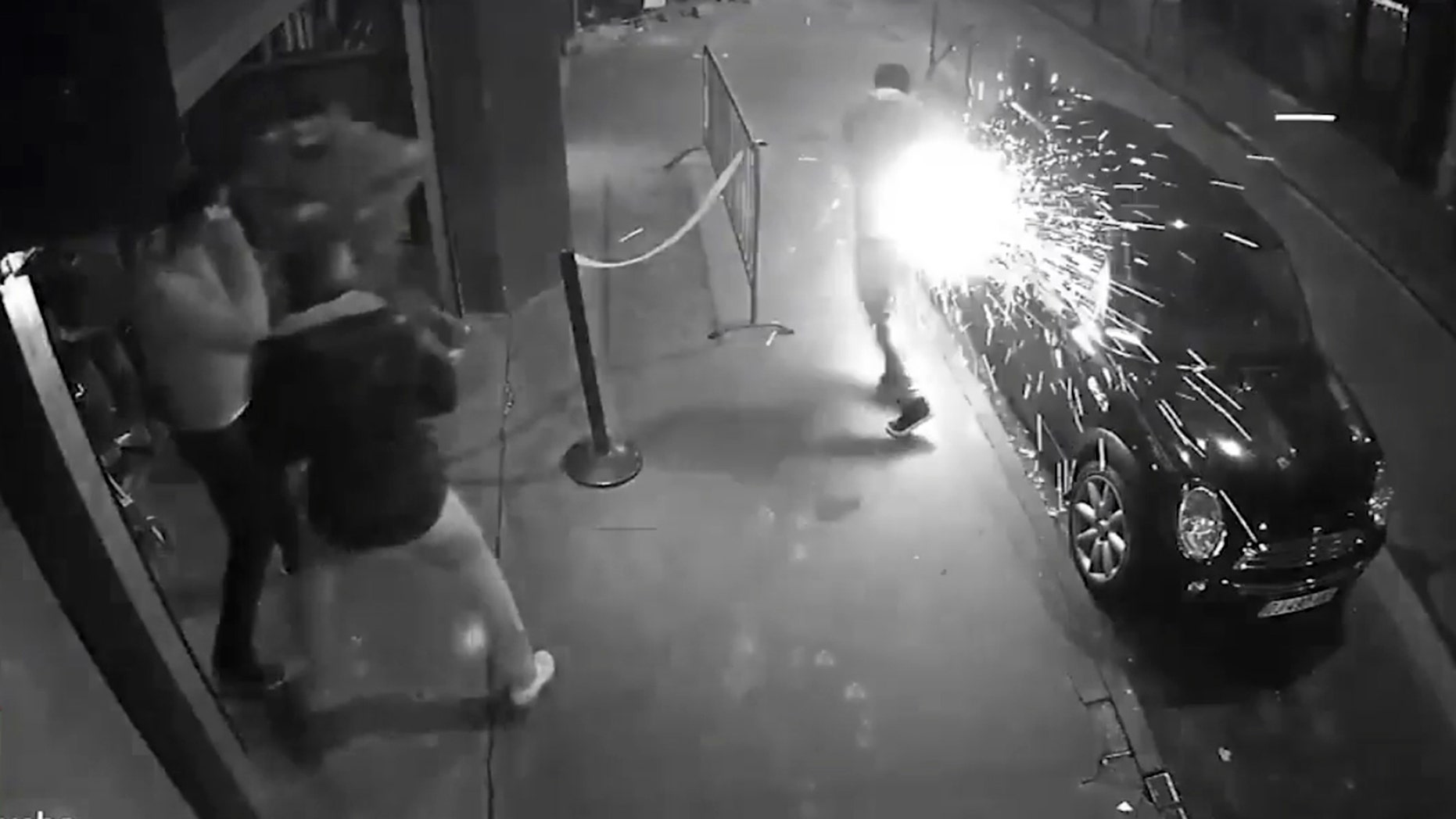 Pic shows: e-cigarretes are ejecting sparks from the pocket of the victim's pants.