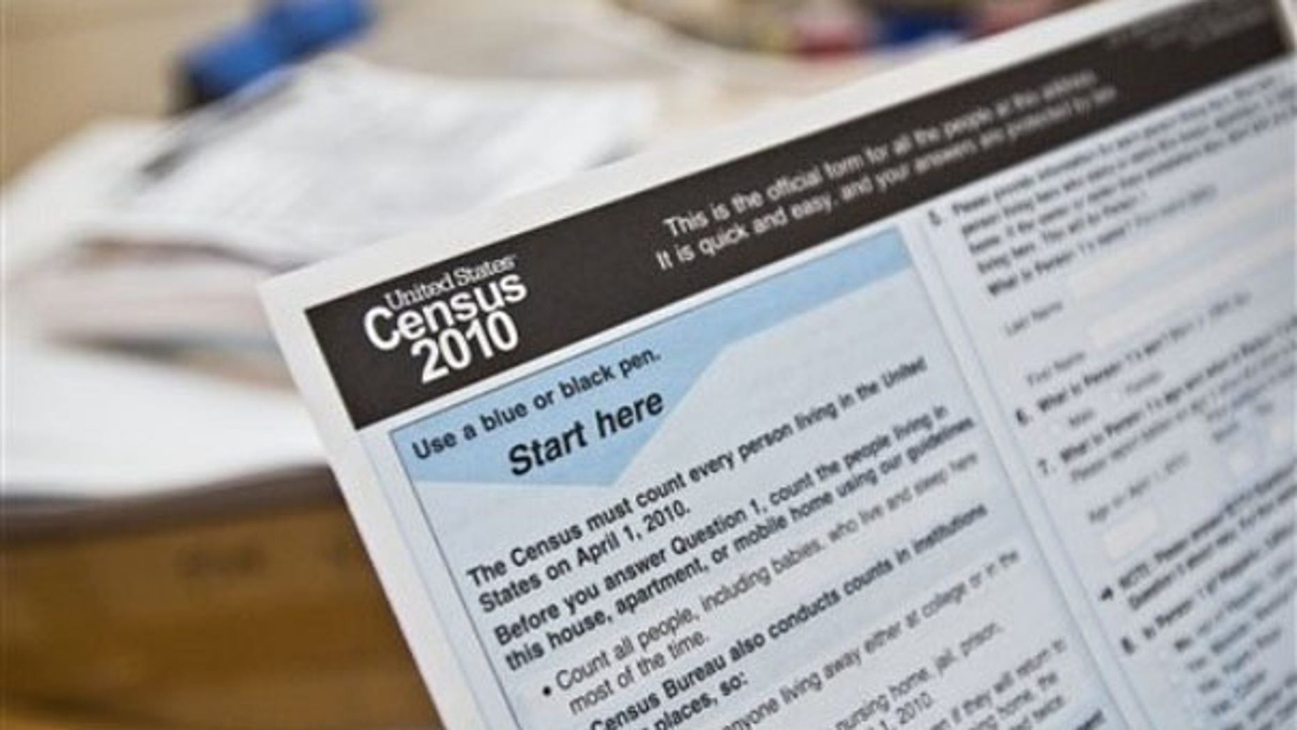 In this April 1 photo, a copy of a 2010 Census form is shown at a Census event at the Caldwell Housing Authority in Caldwell, Idaho. (AP Photo)