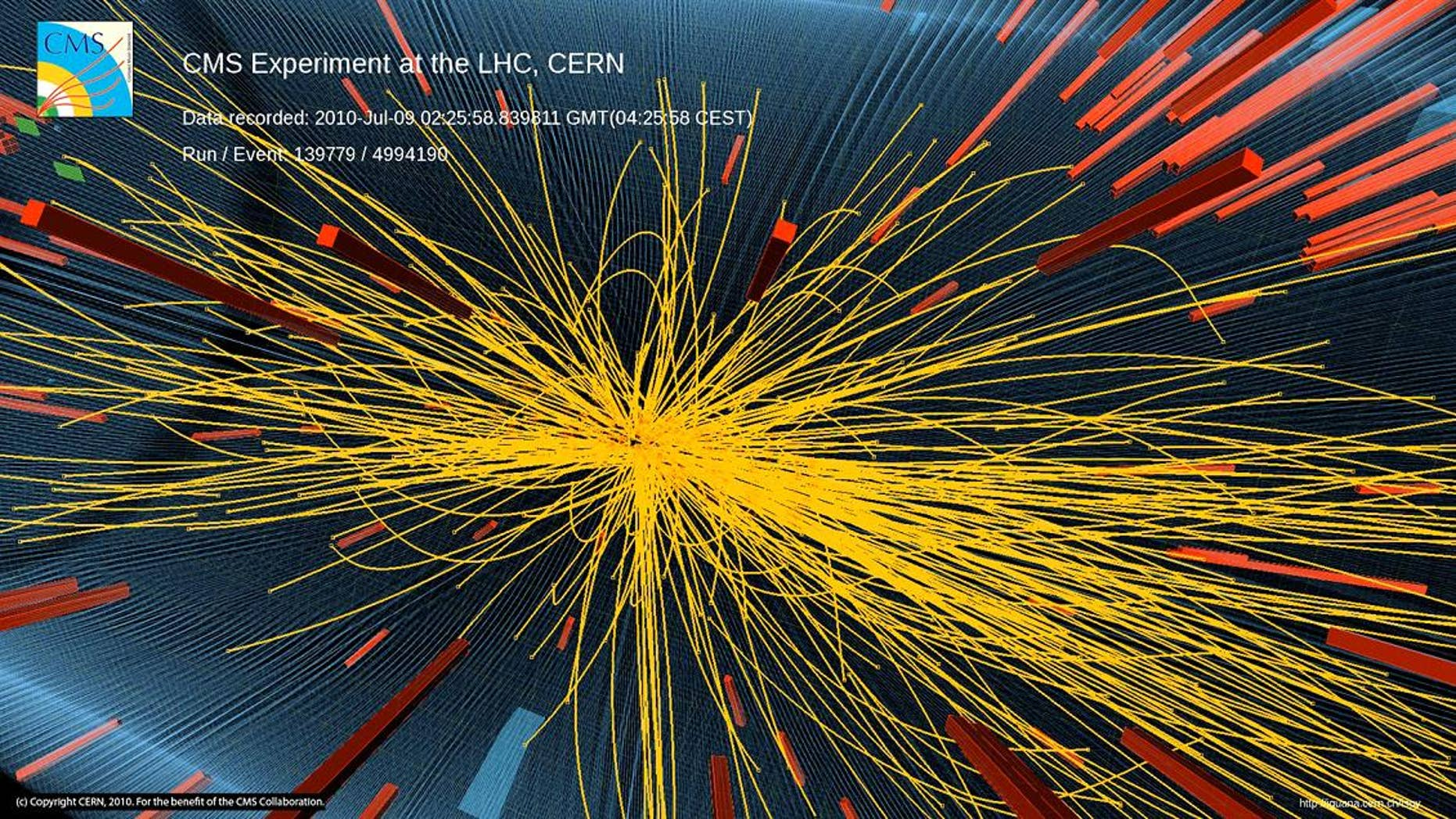 A proton-proton collision at the Large Hadron Collider particle accelerator at CERN laboratory in Geneva that produced more than 100 charged particles.