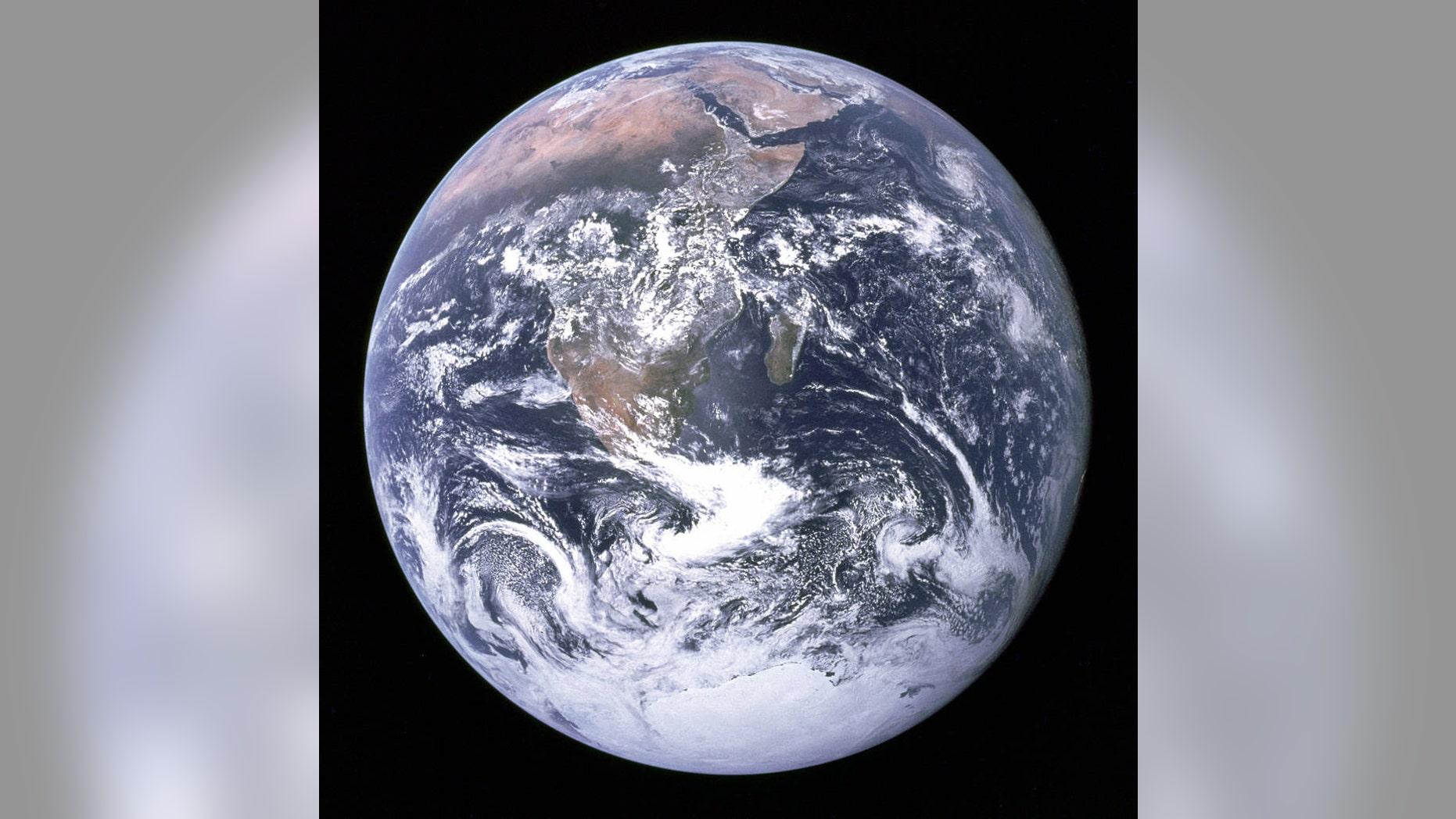Earth as seen by the Apollo 17 crew traveling toward the moon. (NASA)