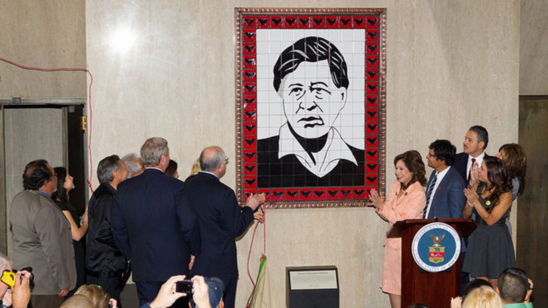 26 March 2012 - Washington, DC - Secretary of Labor Hilda L. Solis hosted the Induction of the Farm Worker Movement into the Labor Hall of Honor in the Great Hall and then proceeded to name and unveil the Cesar E. Chavez Memorial Auditorium. Family members from the Chavez family were on hand as well as Secretary of the Interior Ken Salazar and Secretary of Agriculture Tom Vilsack.