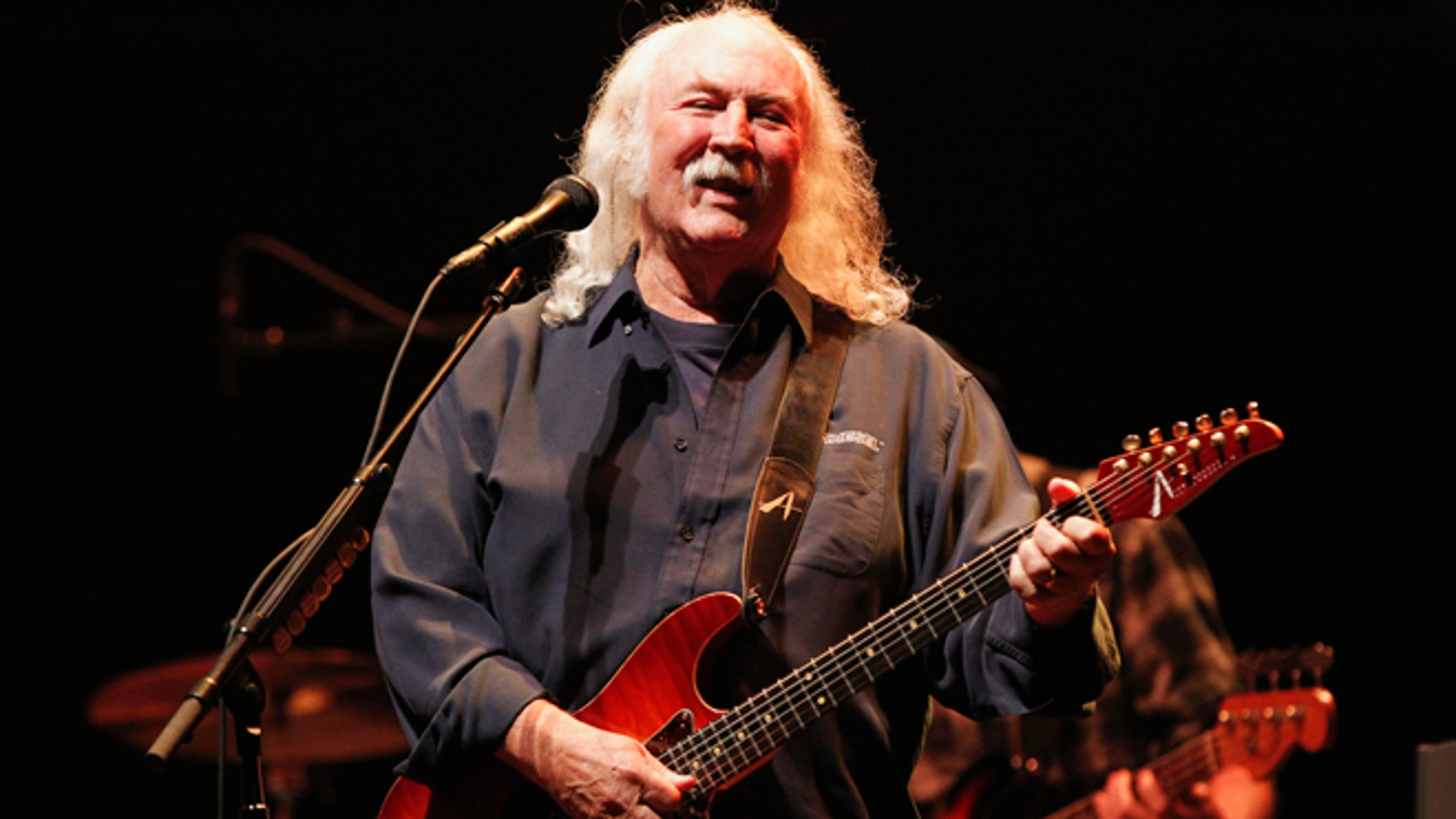 Oct. 3, 2012: Musician David Crosby performs during a benefit concert to help defeat Proposition 32 on the State of California?s November election ballot at Nokia theatre in Los Angeles.