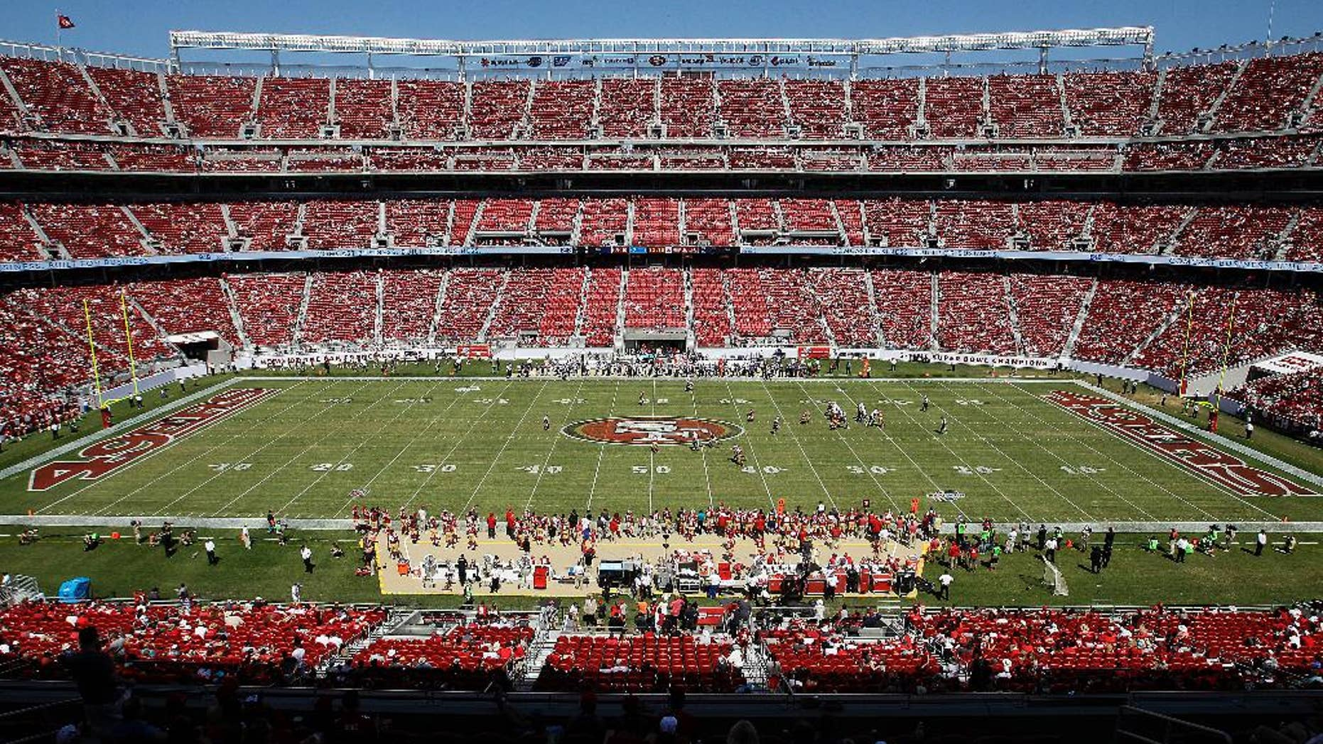The field at Levi's Stadium is shown during the third quarter of an NFL preseason football game between the San Francisco 49ers and the San Diego Chargers in Santa Clara, Calif., Sunday, Aug. 24, 2014. (AP Photo/Mathew Sumner)