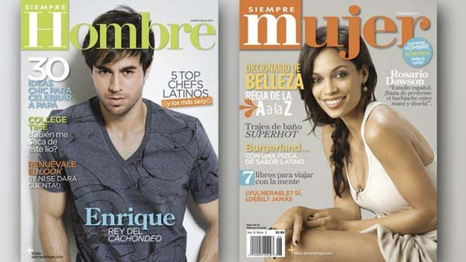 """June 10, 2011: Actress Rosario Dawson and singer Enrique Iglesias appear on the covers of the June/July issues of  """"Siempre Mujer"""" and """"Siempre Hombre"""" magazines. Dawson talks about her Latina roots, while Iglesias highlighted the importance of reinventing himself as an artist."""