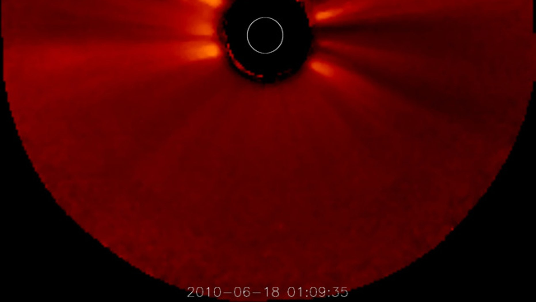 mage of the sun's corona, taken by NASA's STEREO Ahead spacecraft on June 8, 2010. The solar surface is blocked out in this view.