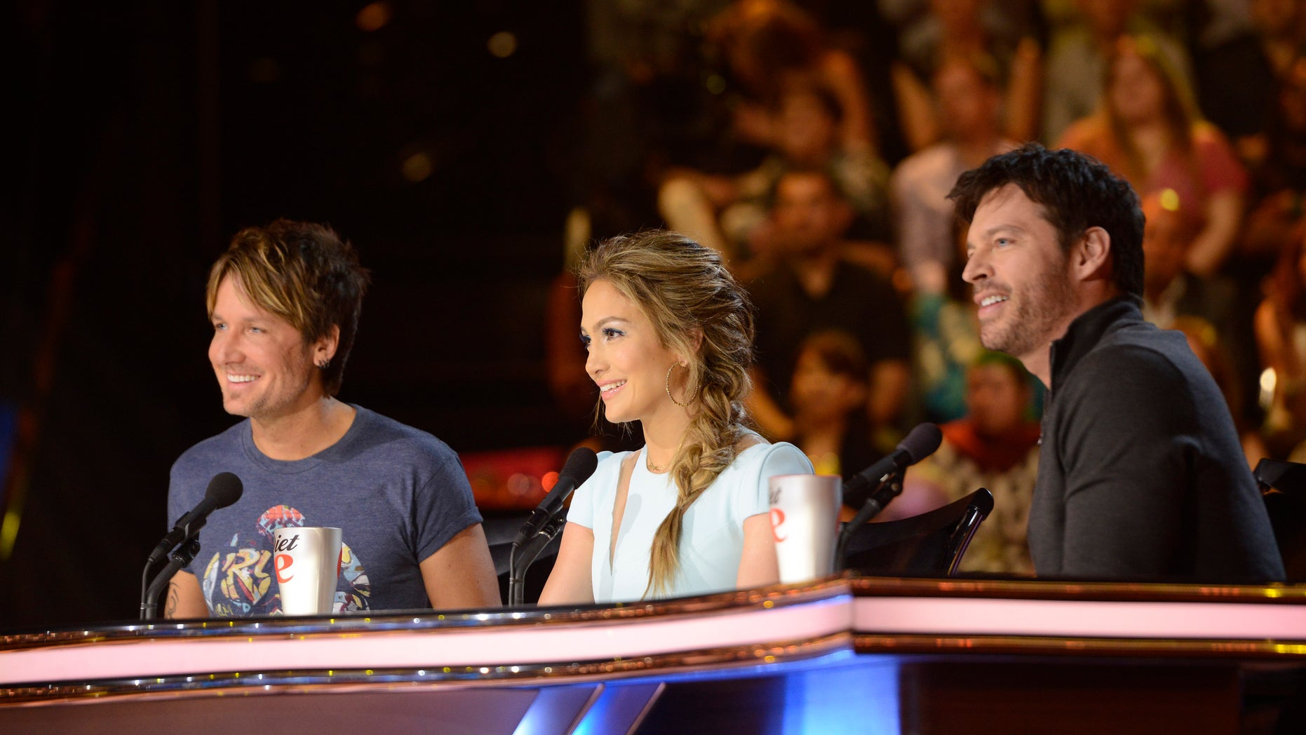 AMERICAN IDOL XIII:  L-R: Keith Urban, Jennifer Lopez and Harry Connick, Jr. on AMERICAN IDOL XIII airing Wednesday, March 19 (8:00-10:00 PM ET / PT) on FOX. CR: Michael Becker / FOX. Copyright 2014 / FOX Broadcasting.