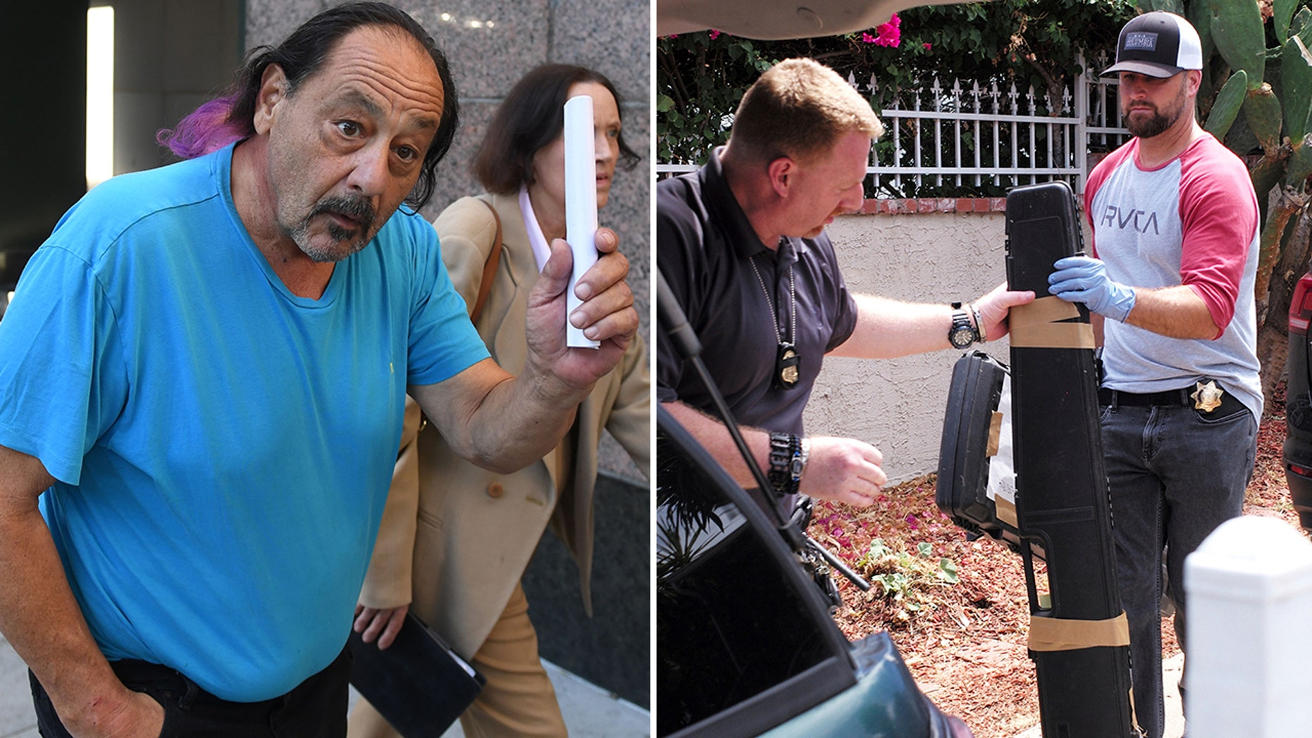 Authorities in California said they seized a small arsenal of guns and ammunition from the home of Robert Chain, 68, (pictured left) who was charged with making death threats against journalists of The Boston Globe.