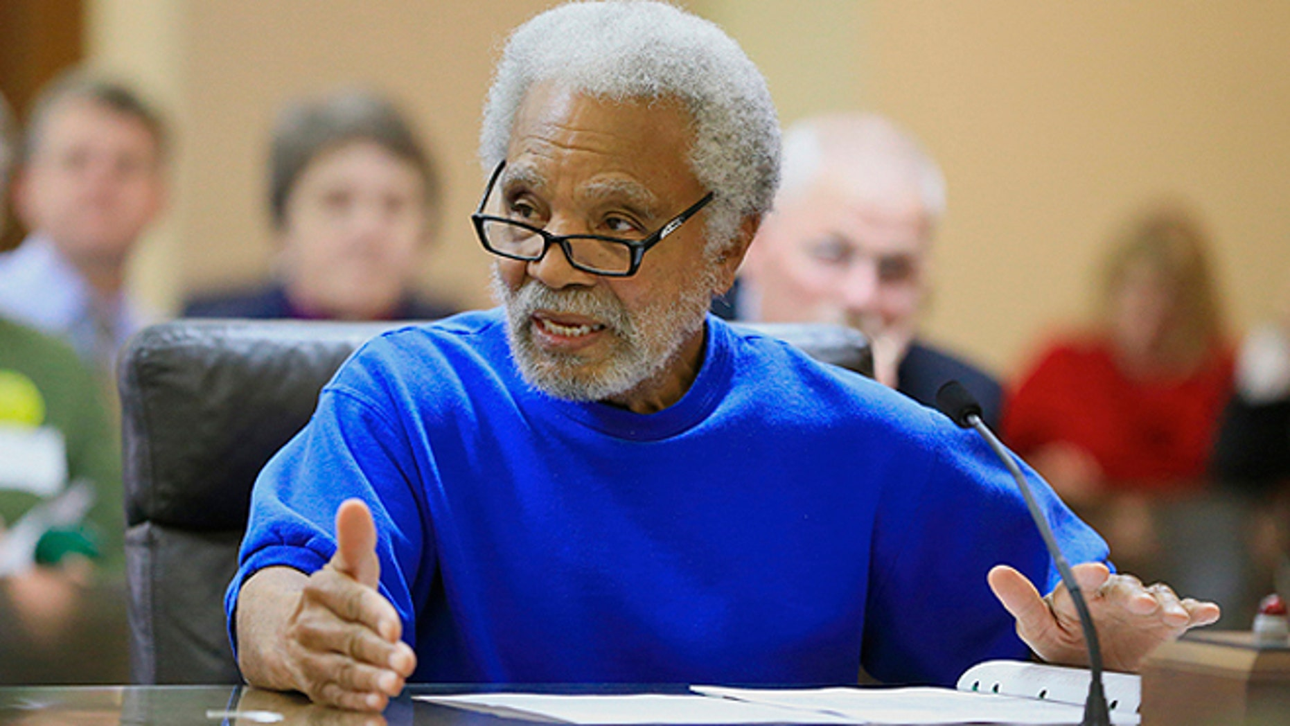 March 4, 2015: Nebraska State Sen. Ernie Chambers speaks at a hearing before the Judiciary Committee in Lincoln, Neb.