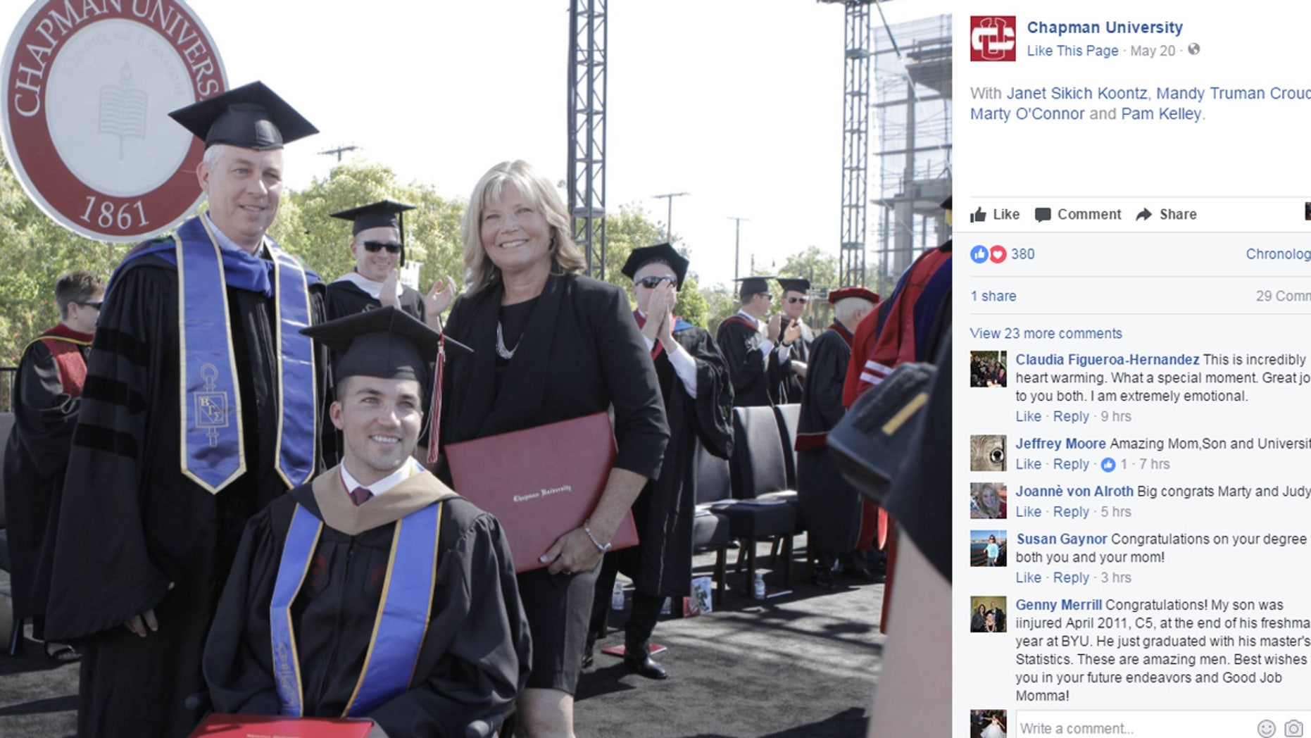 Chapman University surprised Marty O'Connor's mom, Judy, with an honorary degree at the ceremony.
