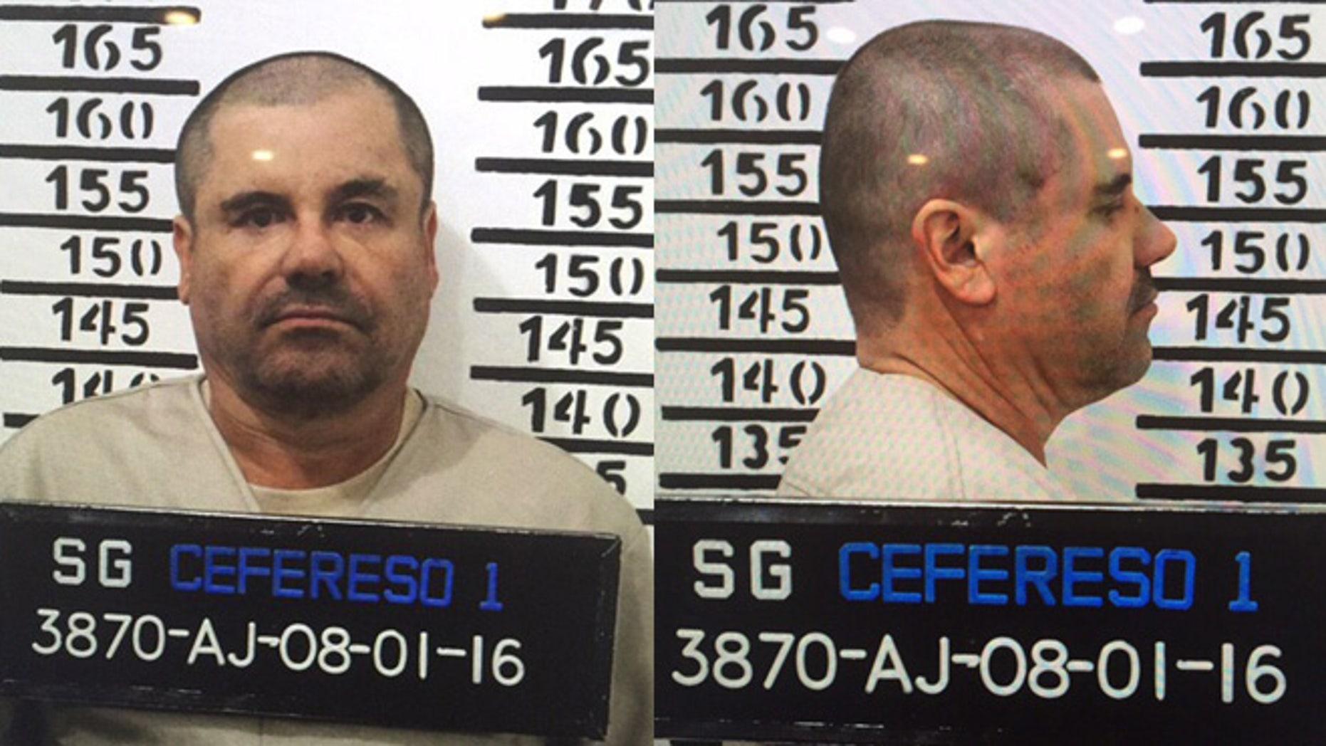 "Joaquin ""El Chapo"" Guzman in his Jan. 8, 2016 prison mugshot."