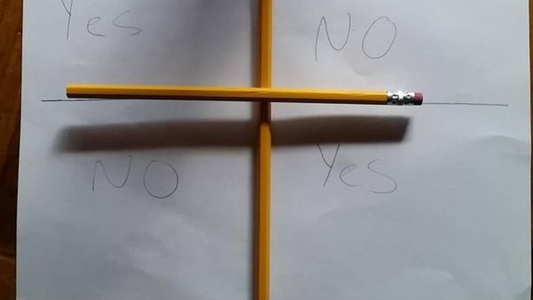 "Users ask a fictional demon ""Charlie"" if he is ""here"" or if he can ""play"" in the #CharlieCharlieChallenge."