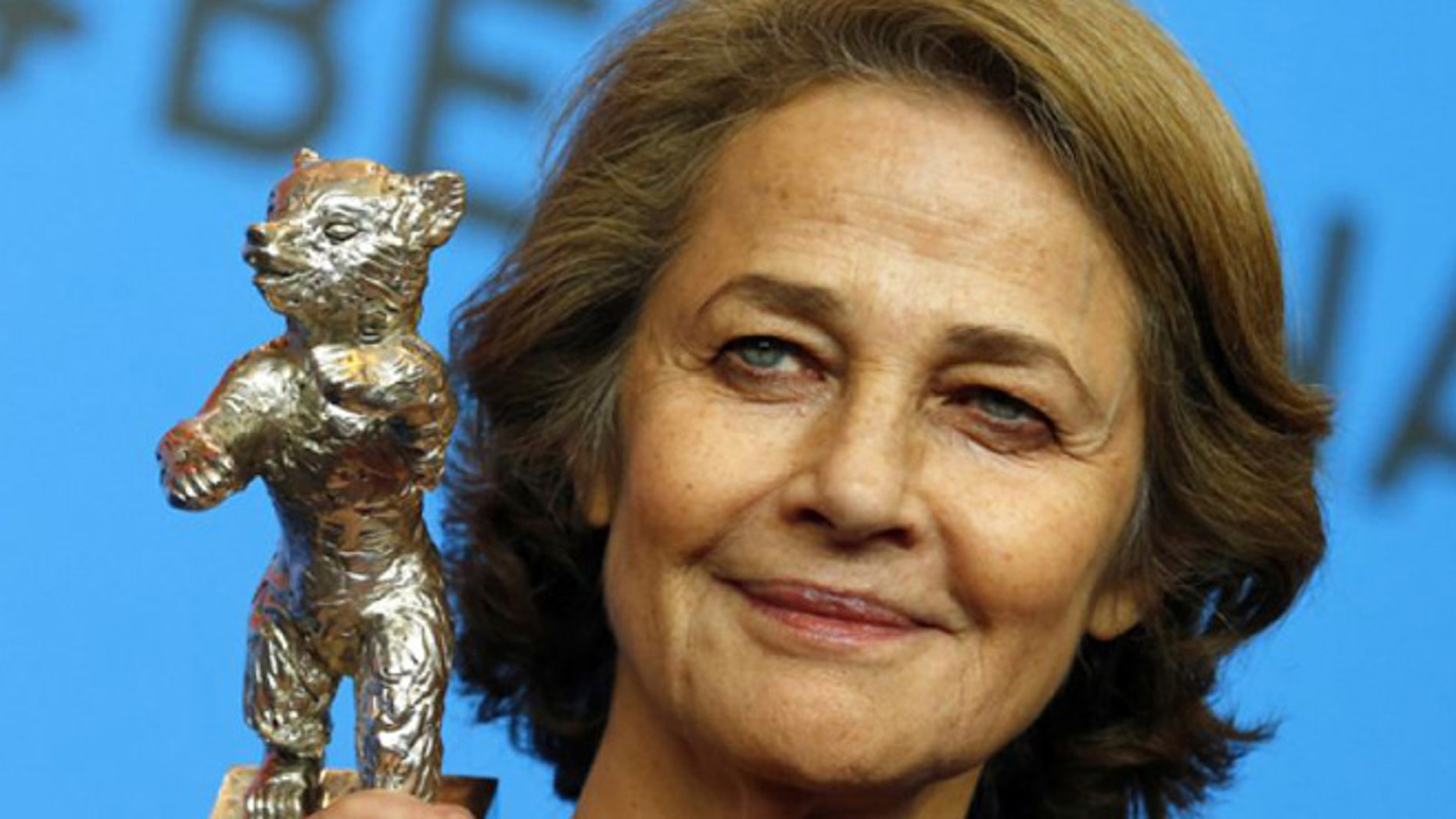 Feb. 14, 2015. Charlotte Rampling holds the Silver Bear for Best Actress for her role in 45 years after the award ceremony at the 2015 Berlinale Film Festival in Berlin, Germany. (The Associated Press)