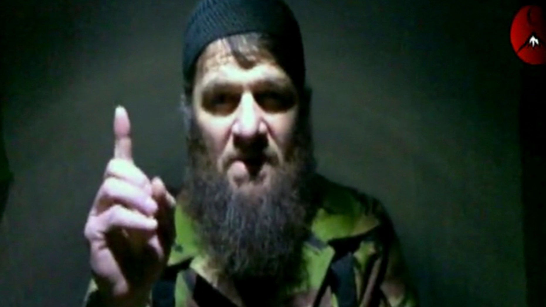This image taken from video received late Monday, Feb. 7, 2011 by The Kavkaz Center, a website affiliated with Chechen rebels, shows insurgent leader Doku Umarov speaking in a video in which he claims responsibility for last month's deadly suicide bombing at Russia's largest airport.
