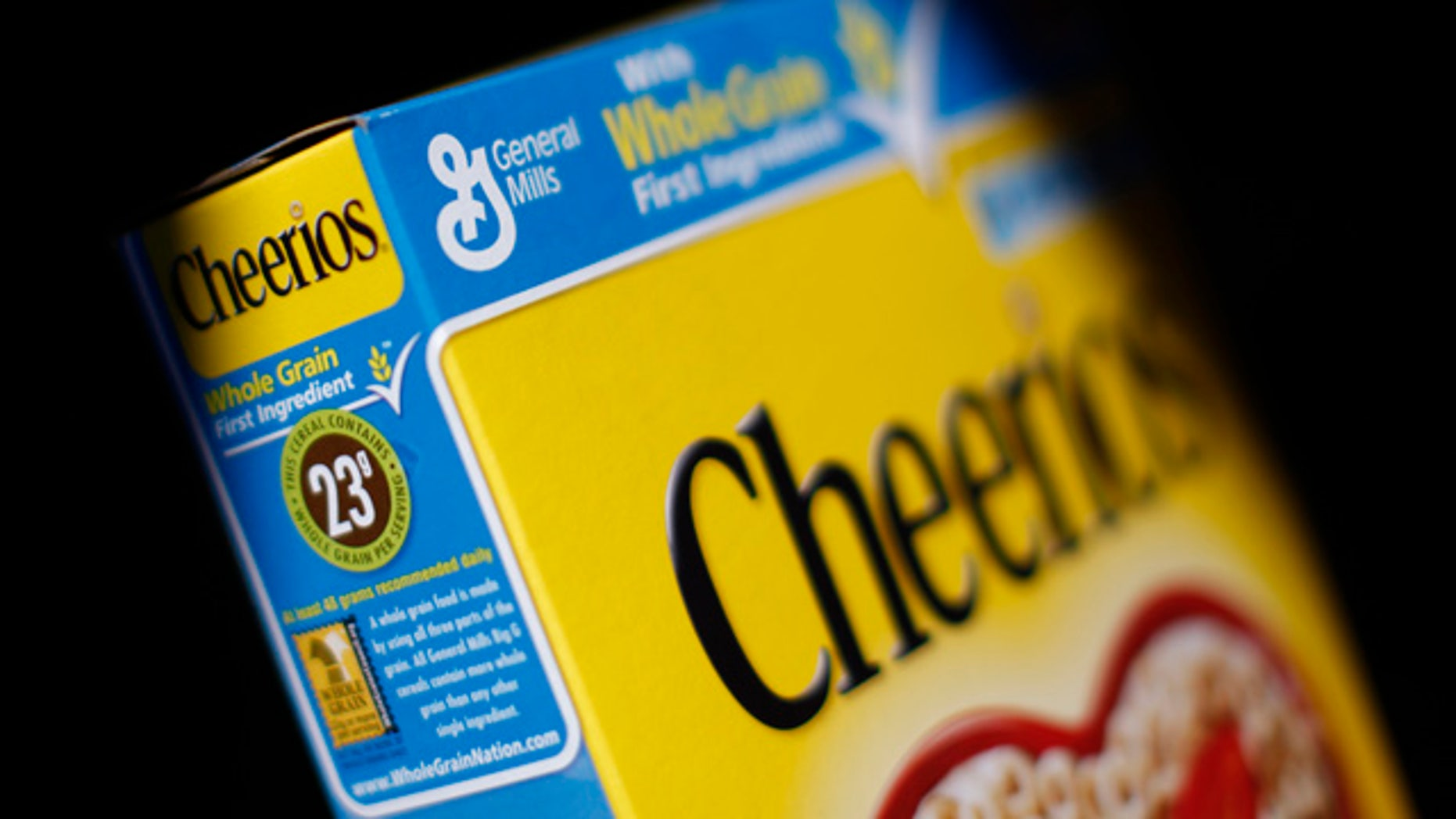 The General Mills logo is seen on a box of Cheerios cereal in Evanston, Illinois.