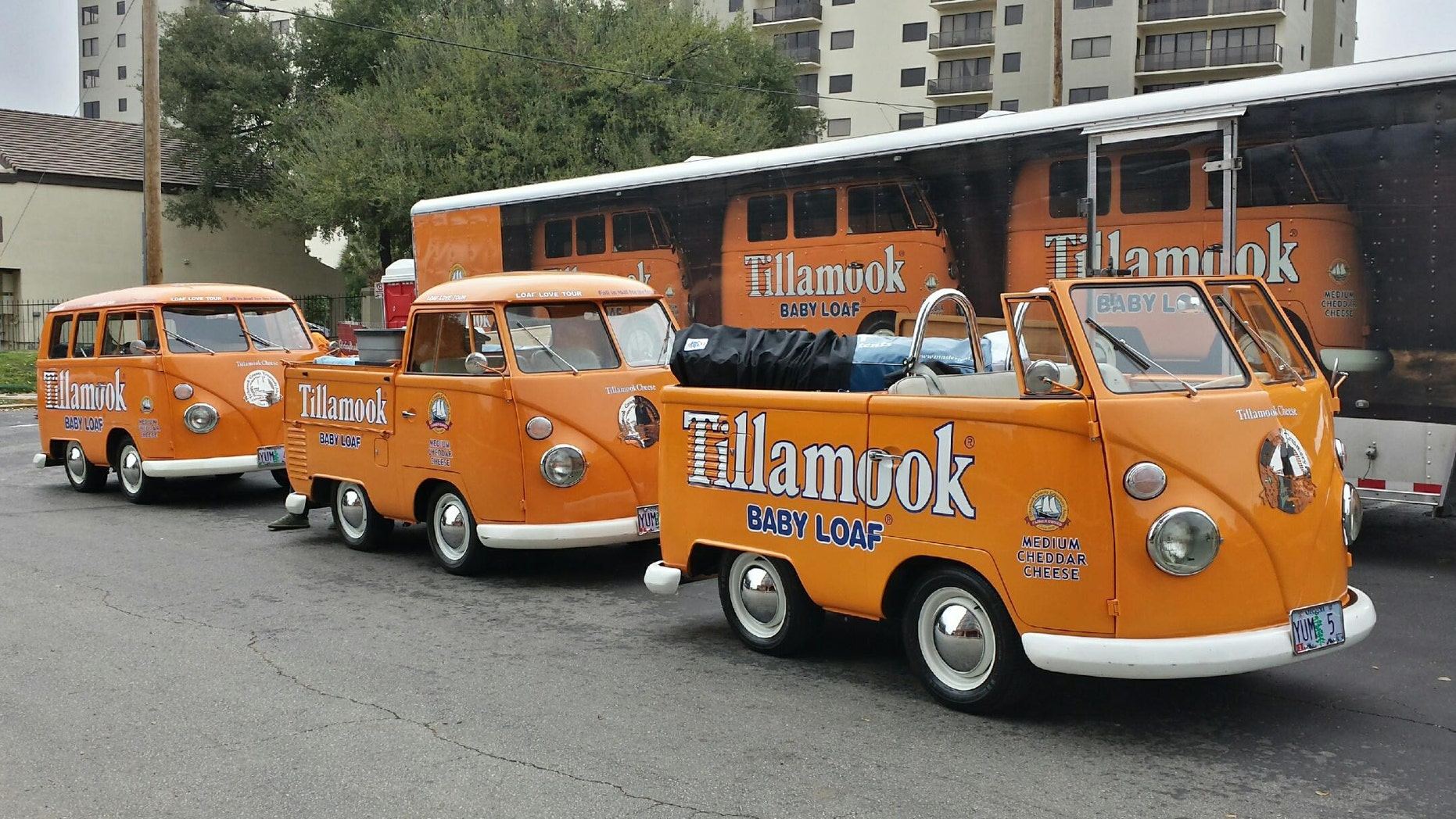 In this undated photo provided by the Manteca Police Department are three Tillamook Cheese vans that were stolen Saturday July 12, 2014.