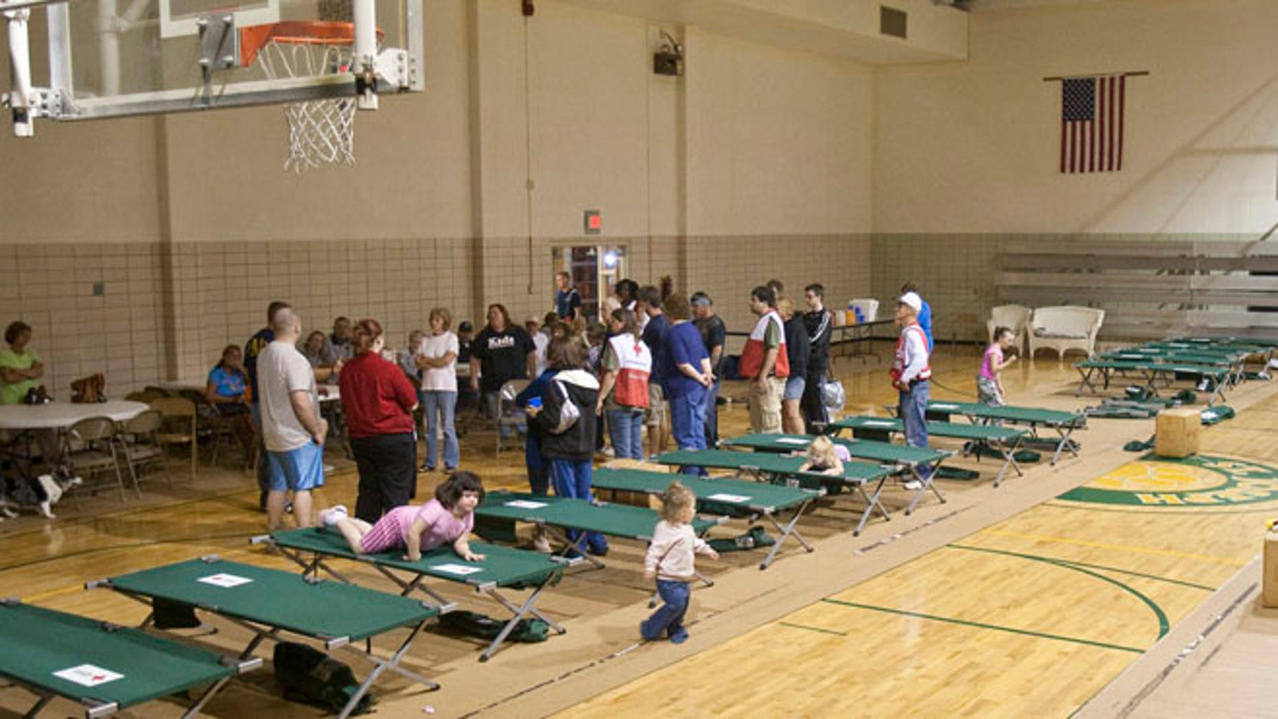 Sept. 14, 2012: Mishawaka, Indiana residents receive instructions at a Red Cross emergency shelter at the St. Joseph's School in Mishawaka.