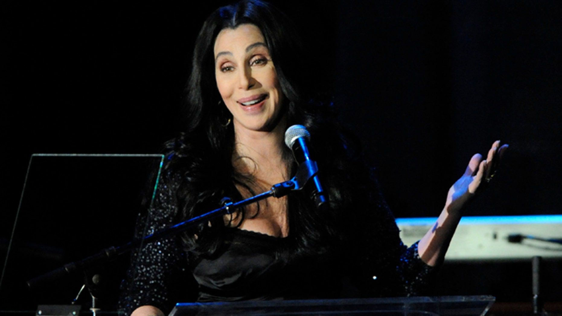 Cher speaks at the Pre-Grammy Gala & Salute to Industry Icons with Clive Davis honoring David Geffen held in Beverly Hills, California on February 12, 2011.