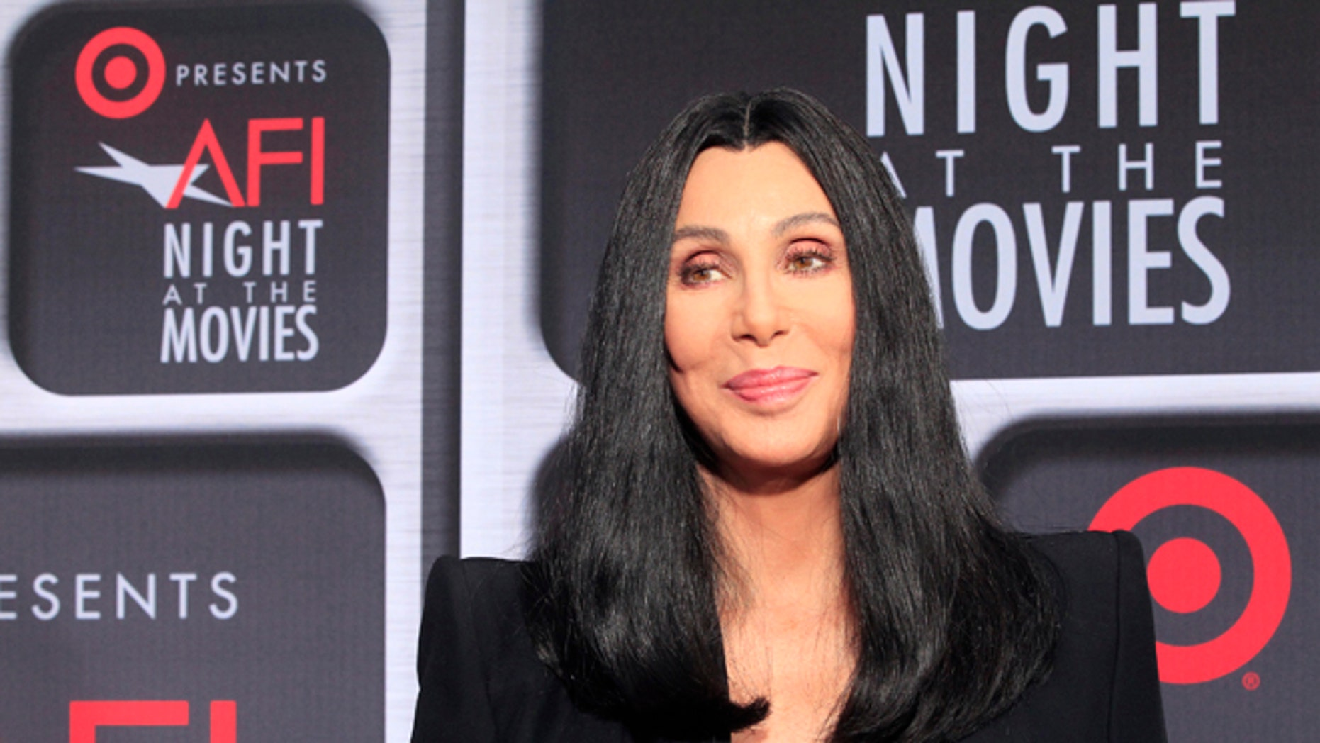 "Actress Cher arrives at Target Presents AFI Night at the Movies in Hollywood April 24, 2013. The event for fans celebrates classic films and Cher introduced her 1987 film ""Moonstruck.""         REUTERS/Fred Prouser (UNITED STATES - Tags: ENTERTAINMENT HEADSHOT) - RTXYZ2F"