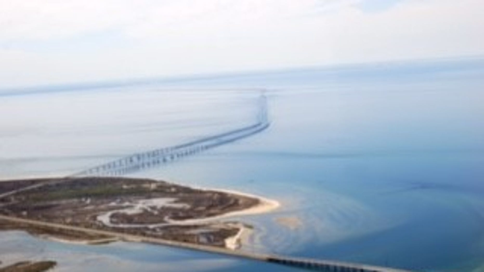 The Chesapeake Bay Bridge-Tunnel.