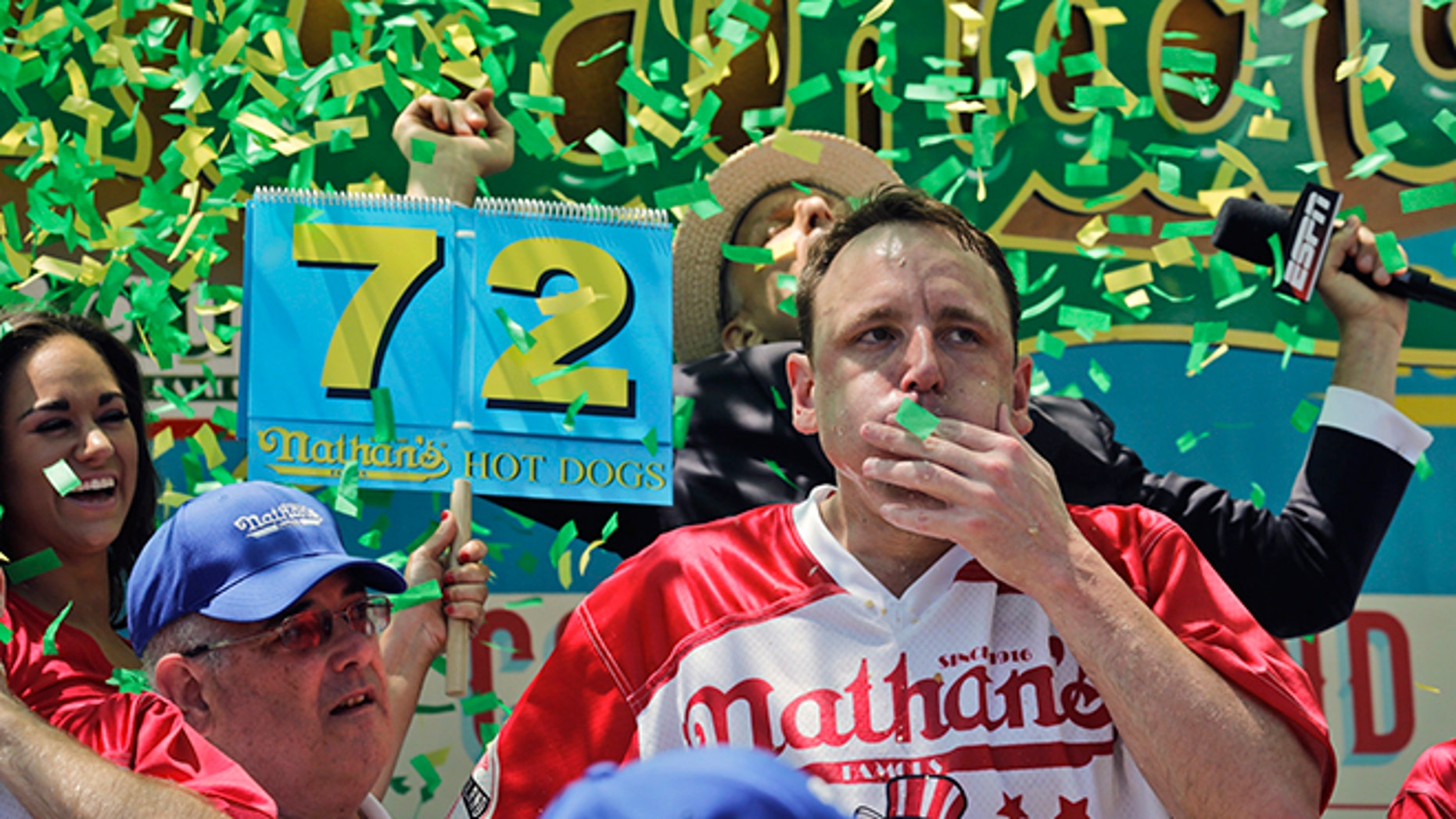 Joey Chestnut wins the Nathan's Annual Famous International Hot Dog Eating Contest in 2017.