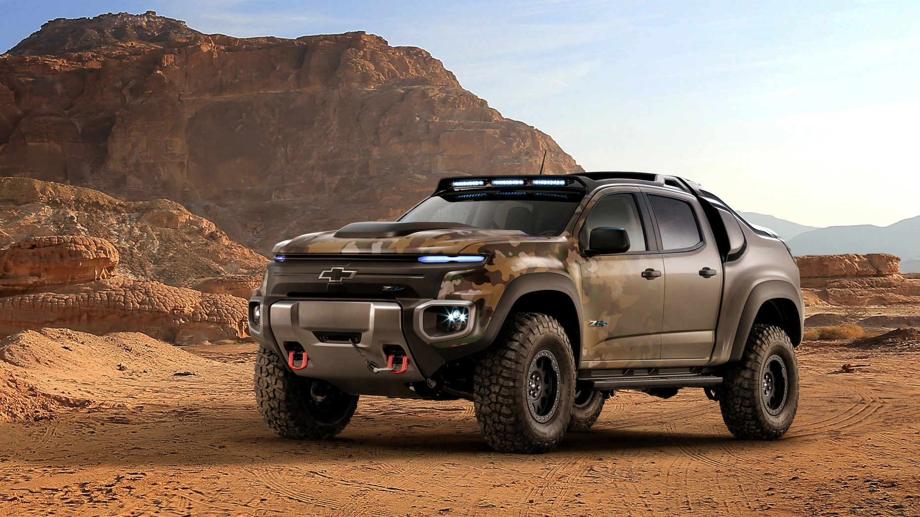 General Motors and the U.S. Army Tank Automotive Research, Development and Engineering Center (TARDEC) on Monday (Oct. 3) revealed the Chevrolet Colorado ZH2 fuel cell electric vehicle, a concept that marries fuel cell technology and its advantages of on-board water production, exportable electric power and near silent operation with extreme off-road capability.