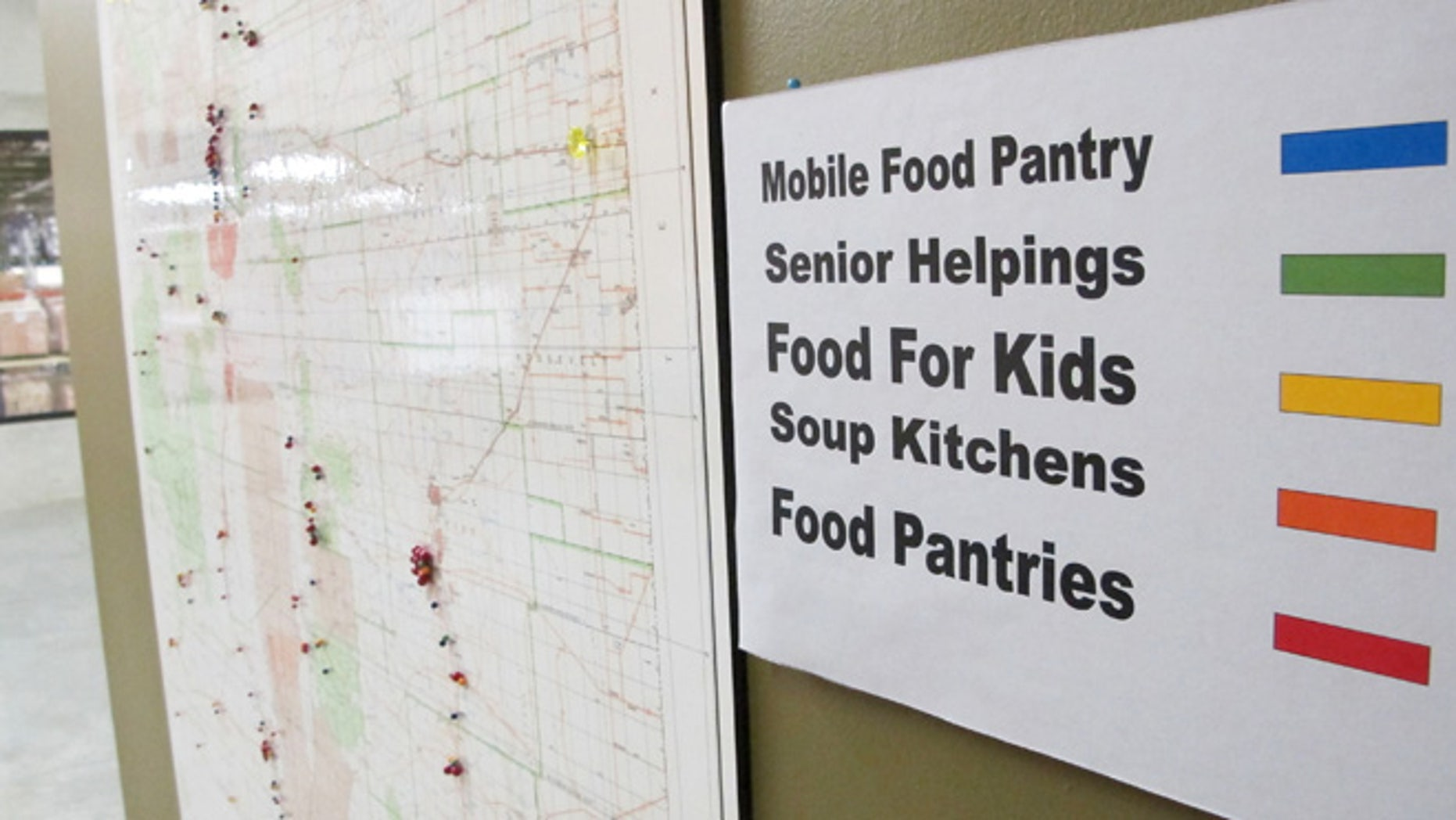 June 21, 2013: This image shows a map at Roadrunner Food Bank in Albuquerque, N.M., that depicts food distribution points across New Mexico. An annual survey released by the Annie E. Casey Foundation shows the number of children living in poverty increased to 23 percent in 2011. The survey ranks New Mexico as the worst in the nation when it comes to child well-being.