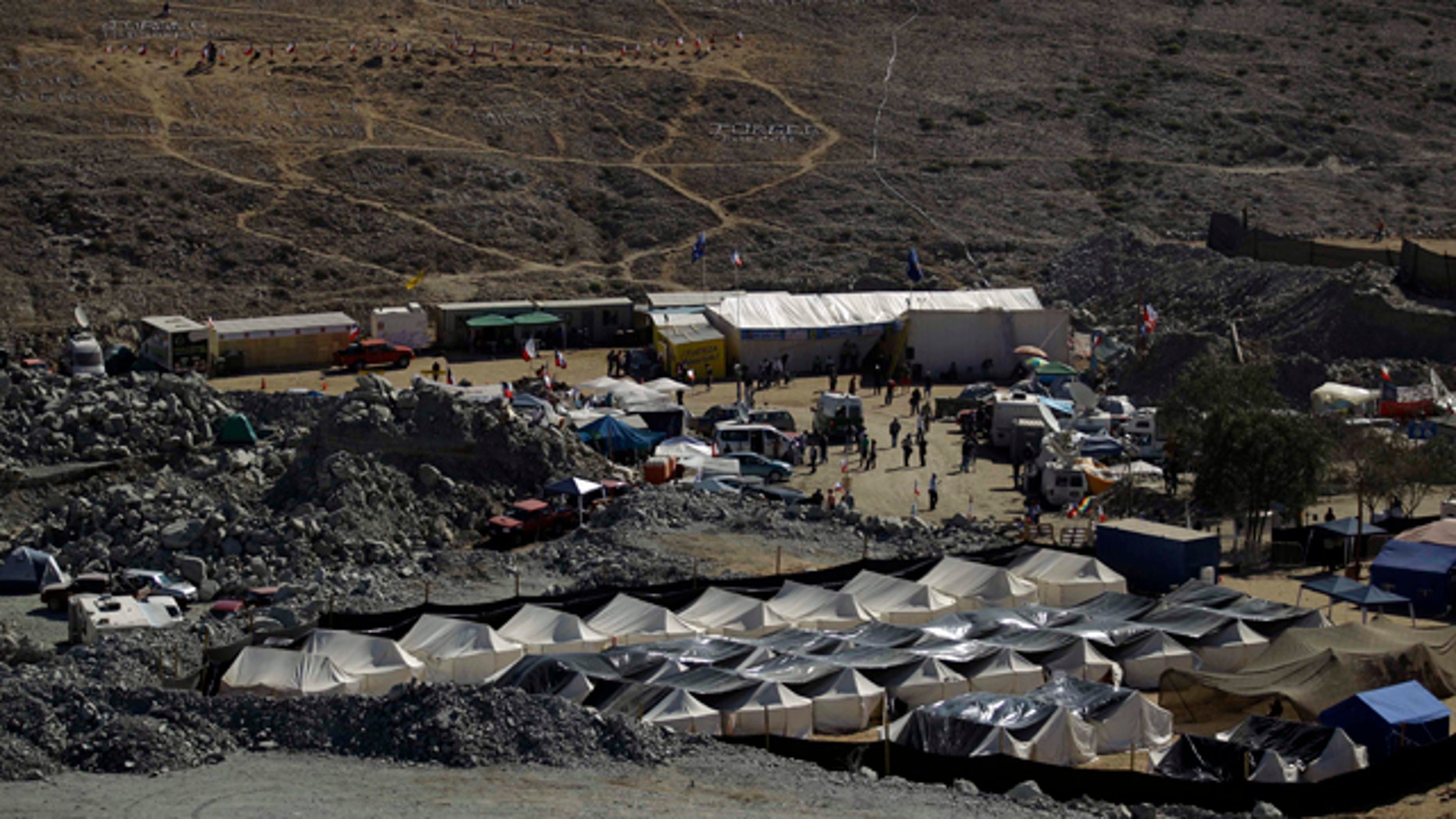 The camp where relatives of 33 trapped miners wait for news is seen outside the San Jose mine in Copiapo, Chile, Wednesday, Aug. 25, 2010.