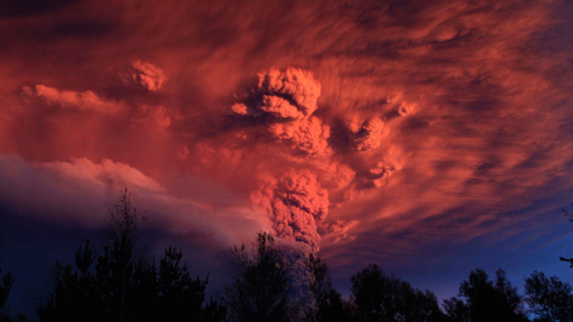 June 4, 2011: A plume of ash, estimated six miles high and three mile wide is seen after a volcano erupted in the Puyehue-Cordon Caulle volcanic chain, about 575 miles south of the capital, Santiago.