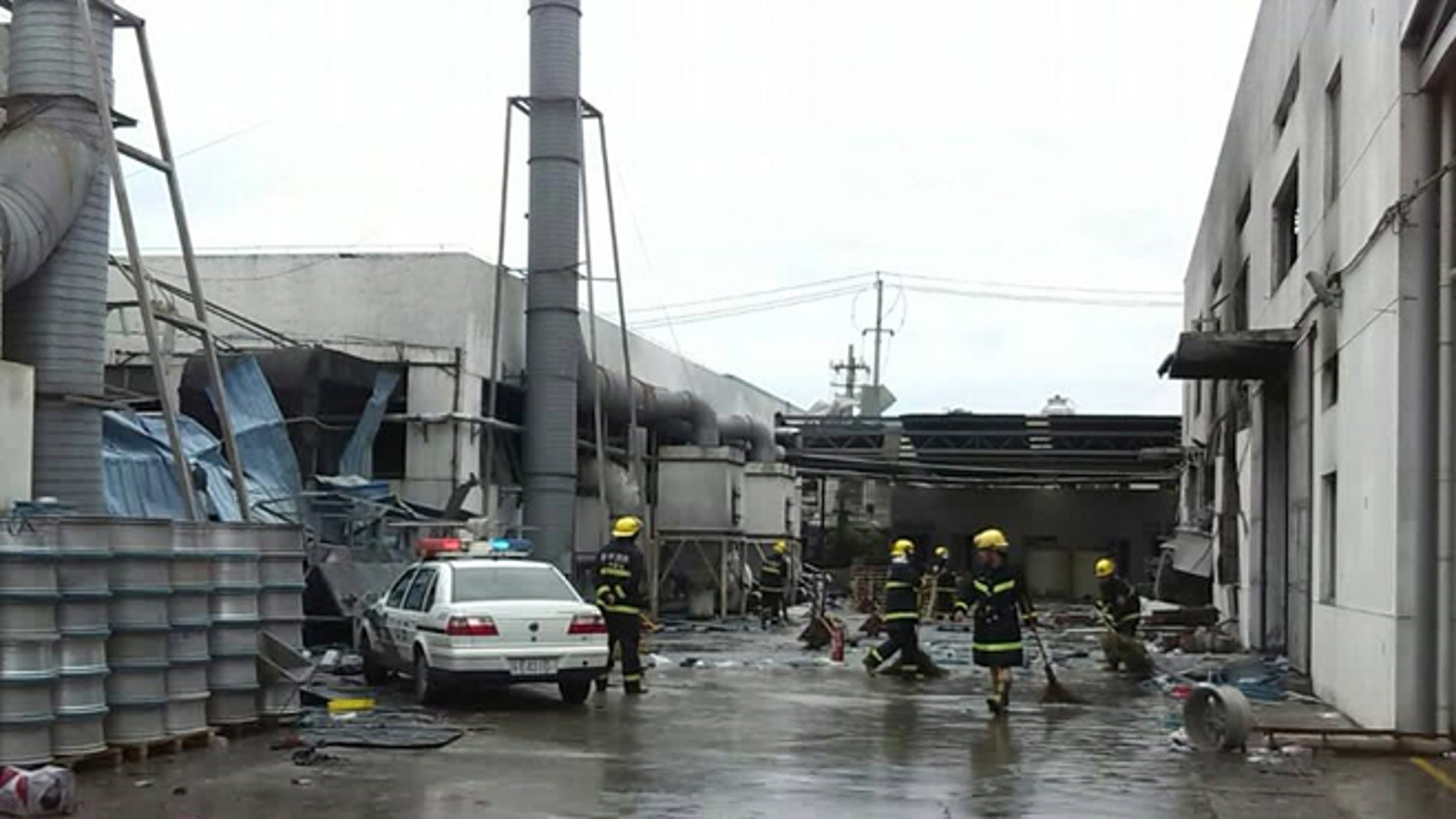 Aug. 2, 2014: This photo released by China's Xinhua News Agency shows the site of an explosion at an eastern Chinese automotive parts factory in Kunshan City, Jiangsu Province.