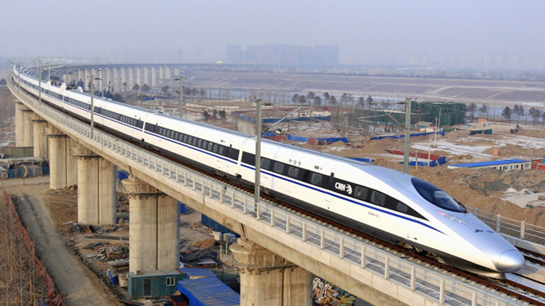 Dec. 26, 2012: In this photo released by China's Xinhua news agency, a bullet train passes over Yongdinghe Bridge in Beijing Wednesday.