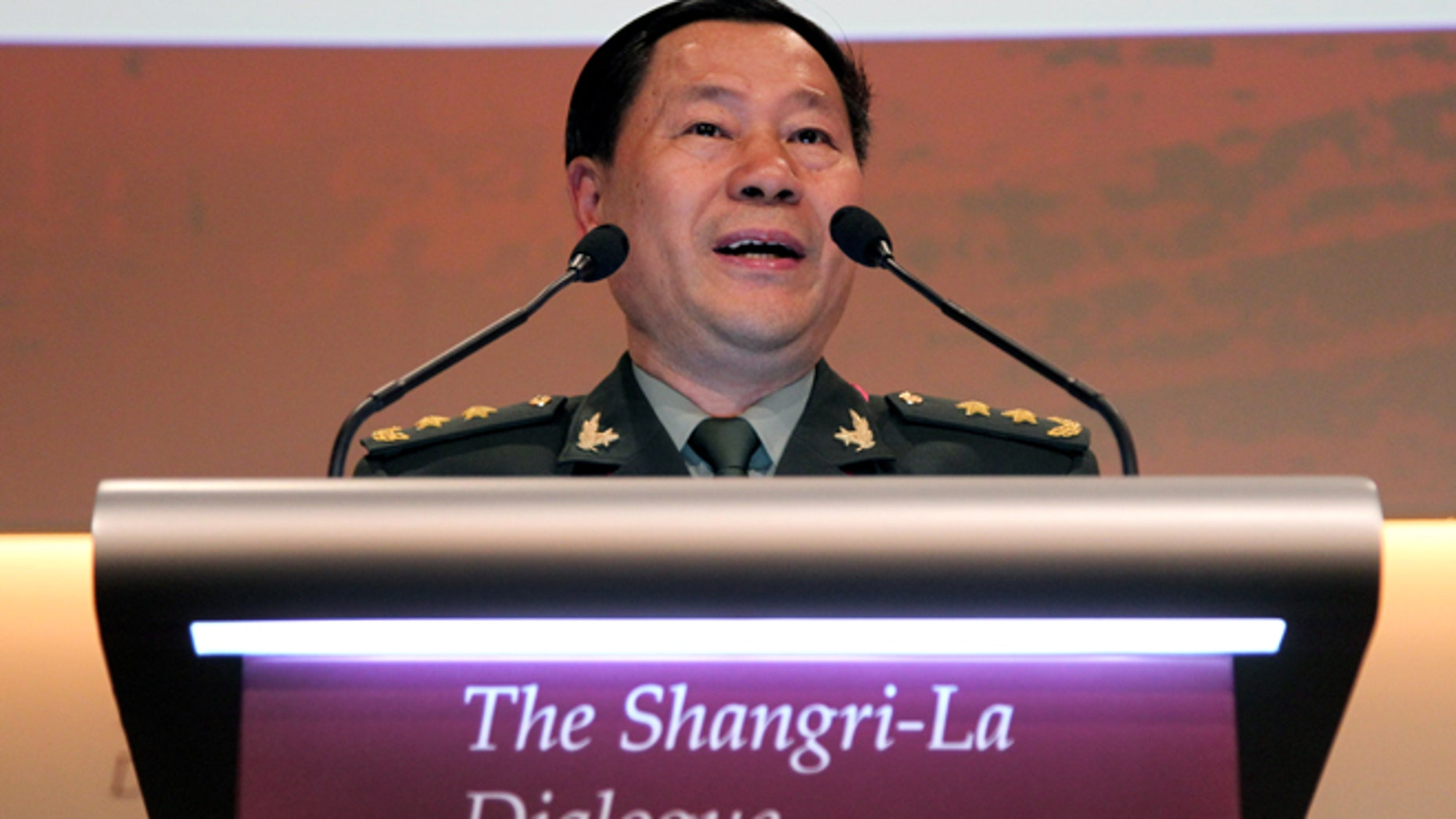 June 2, 2013: China's Lt. Gen. Qi Jianguo, Deputy Chief of General Staff, Peoples Liberation Army, delivers his speech at the  International Institute for Strategic Studies Shangri-la Dialogue, or IISS Asia Security Summit in Singapore.