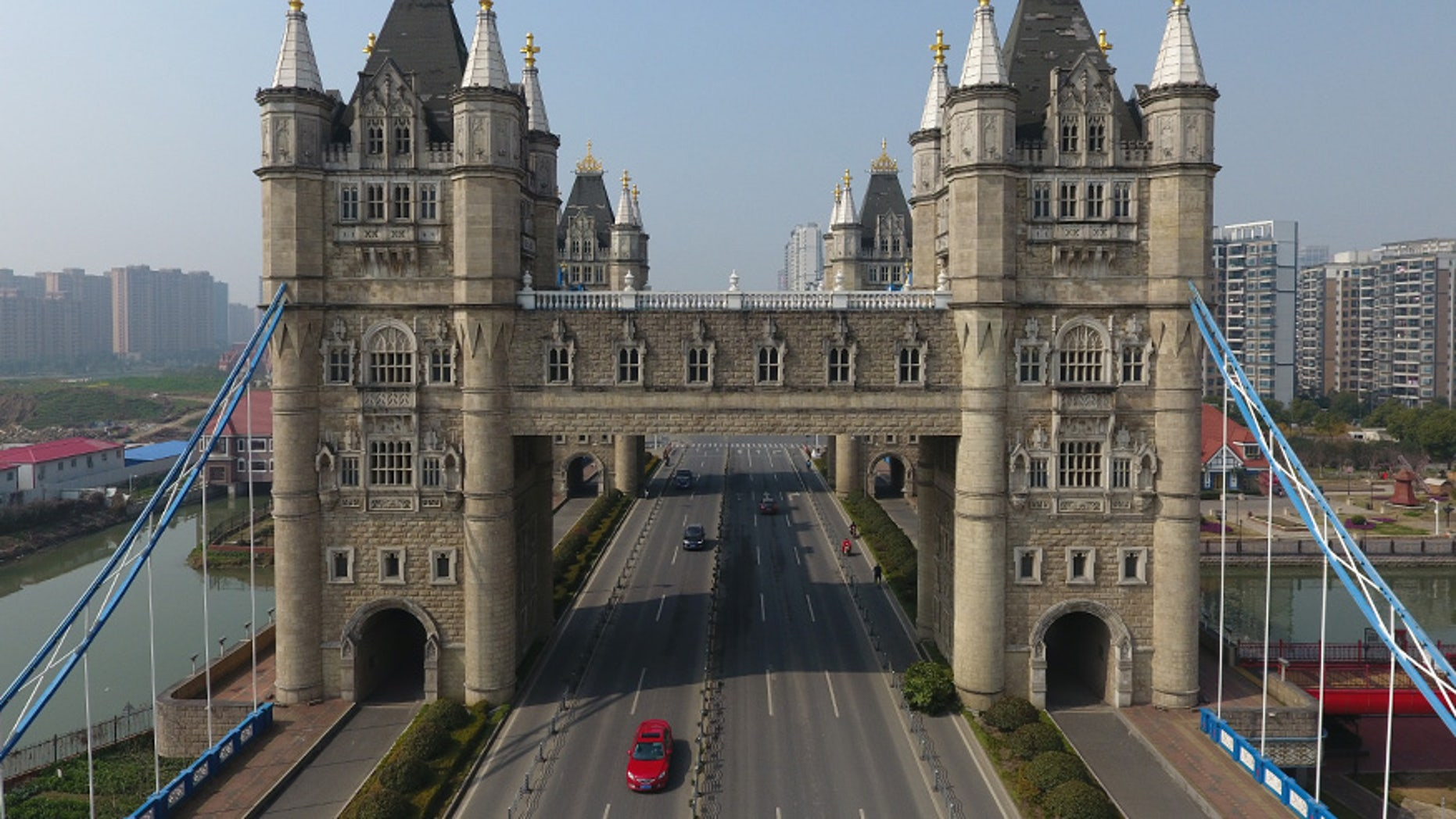A look alike of London's Tower Bridge is seen in Suzhou, Jiangsu province, China.