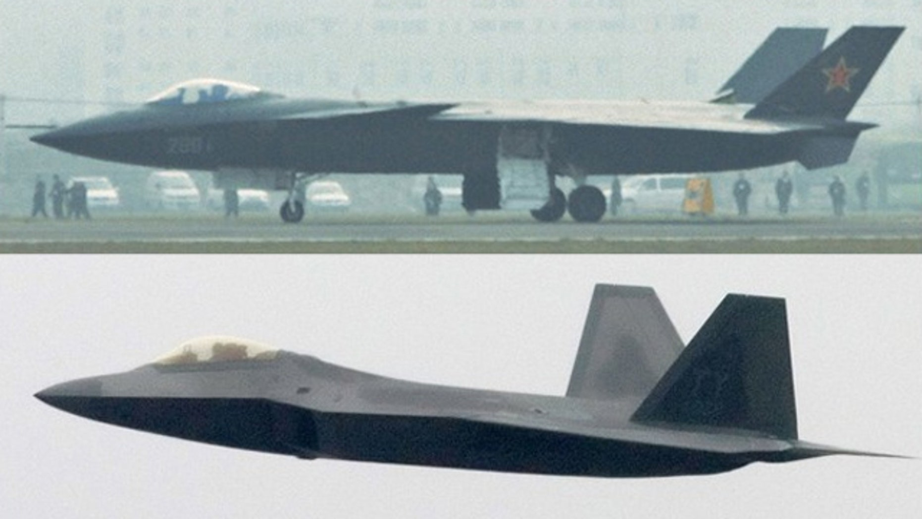 China's new J-20 stealth fighter (top) photographed in Chengdu, Sichuan province, January 7, 2011. Some analysts have said China may be making faster-than-expected progress in developing a rival to the F-22 Raptor (below).